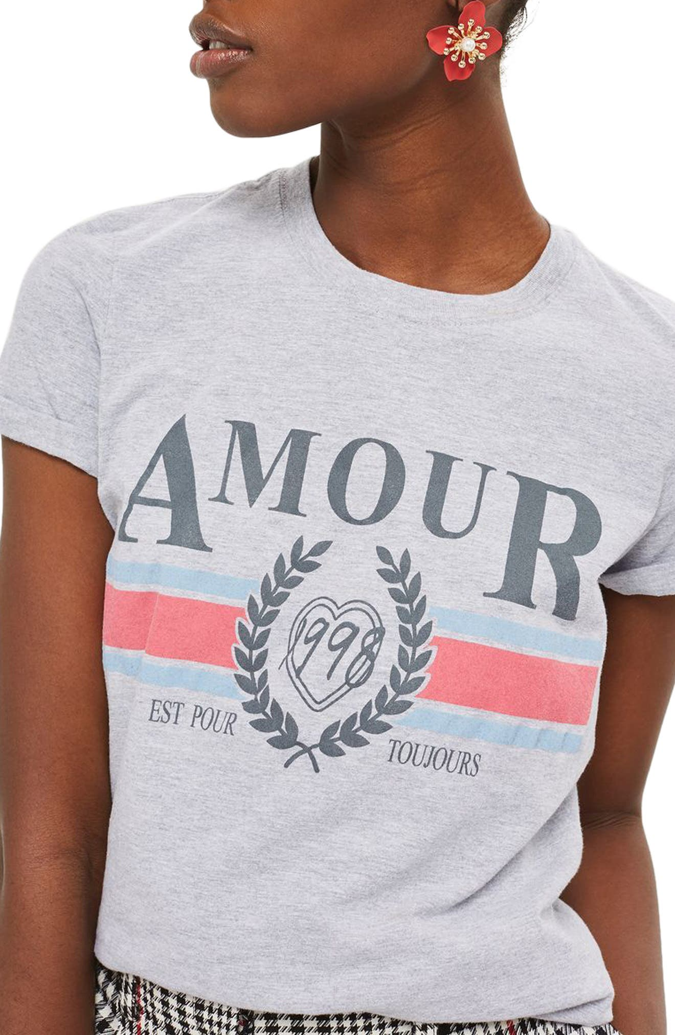 Amour Graphic Tee,                             Main thumbnail 1, color,                             Grey Multi