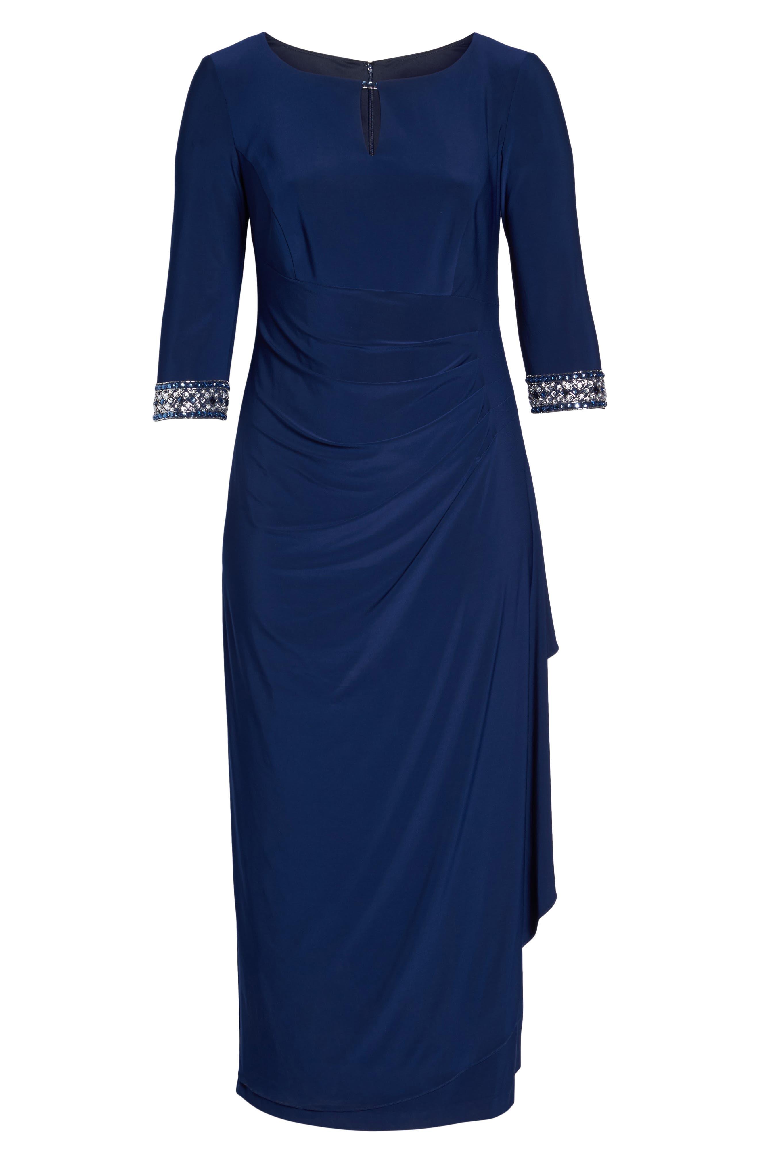 Embellished Faux Wrap Gown,                             Alternate thumbnail 6, color,                             Cobalt