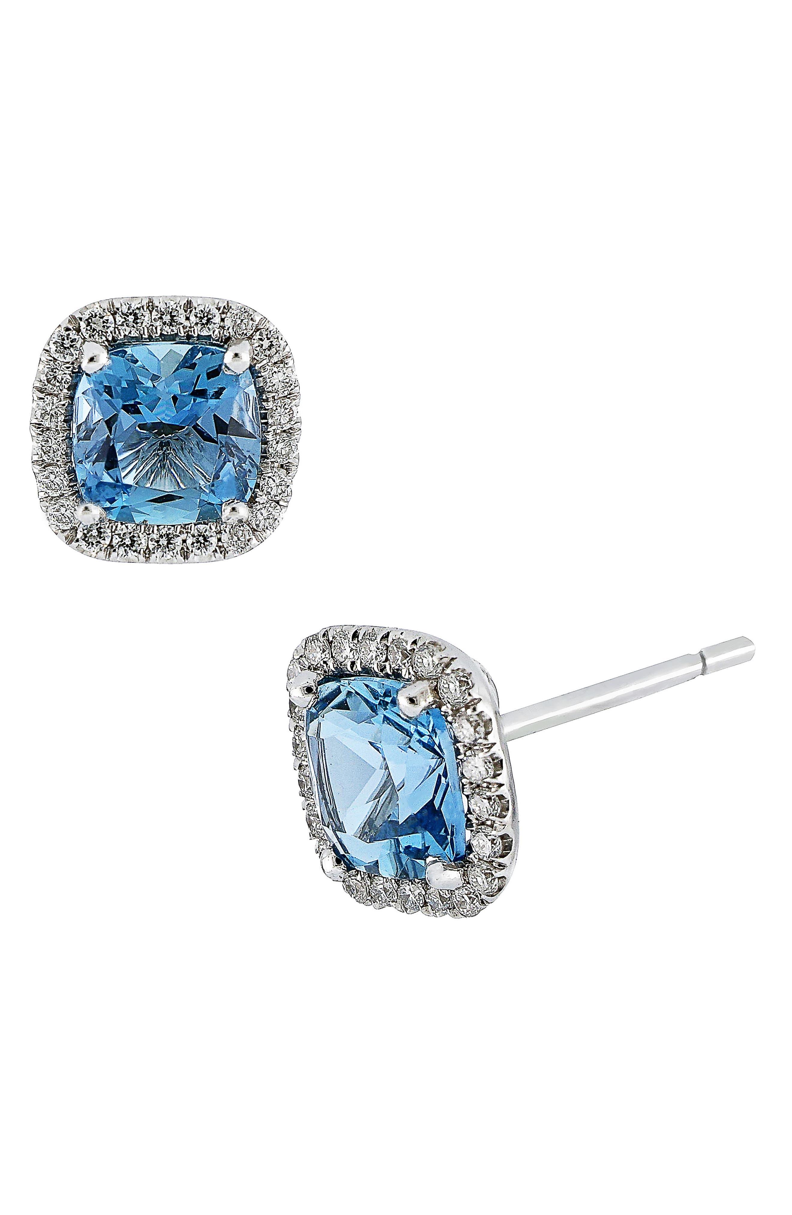 Aquamarine & Diamond Earrings,                         Main,                         color, White Gold