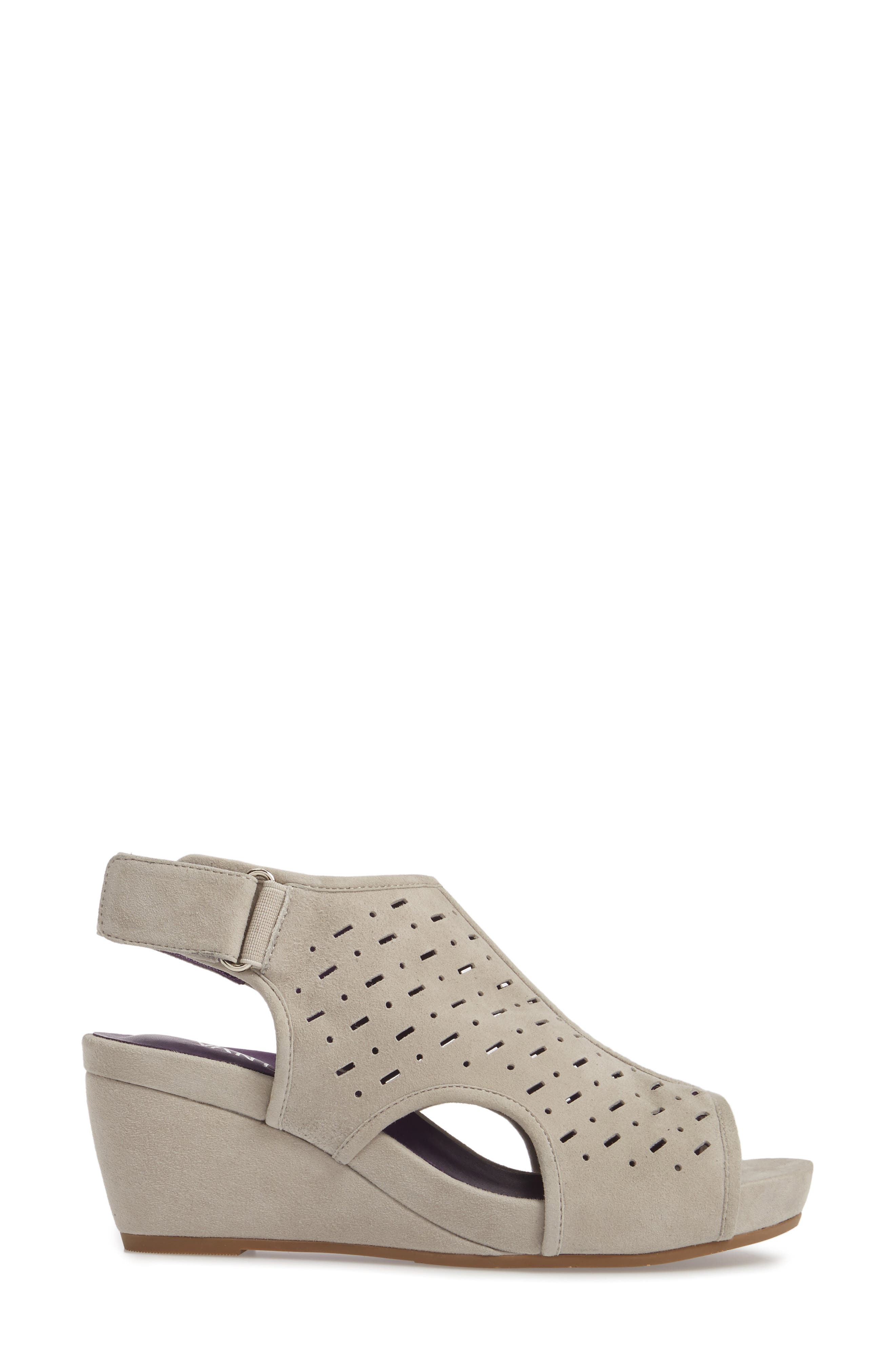 Ibis Wedge,                             Alternate thumbnail 3, color,                             Dove Suede