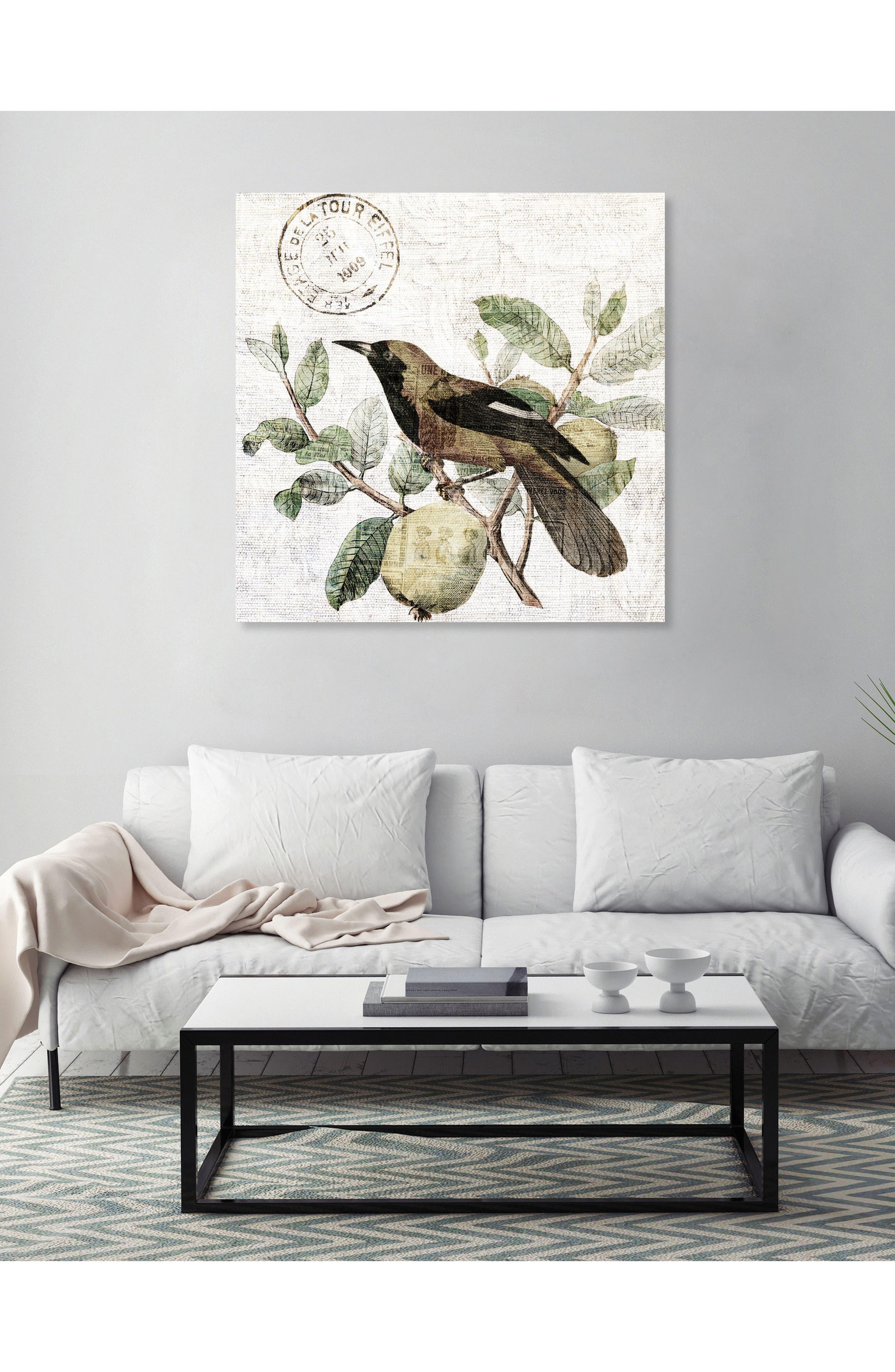 Bird in the Tree Light Canvas Wall Art,                             Alternate thumbnail 2, color,                             Green
