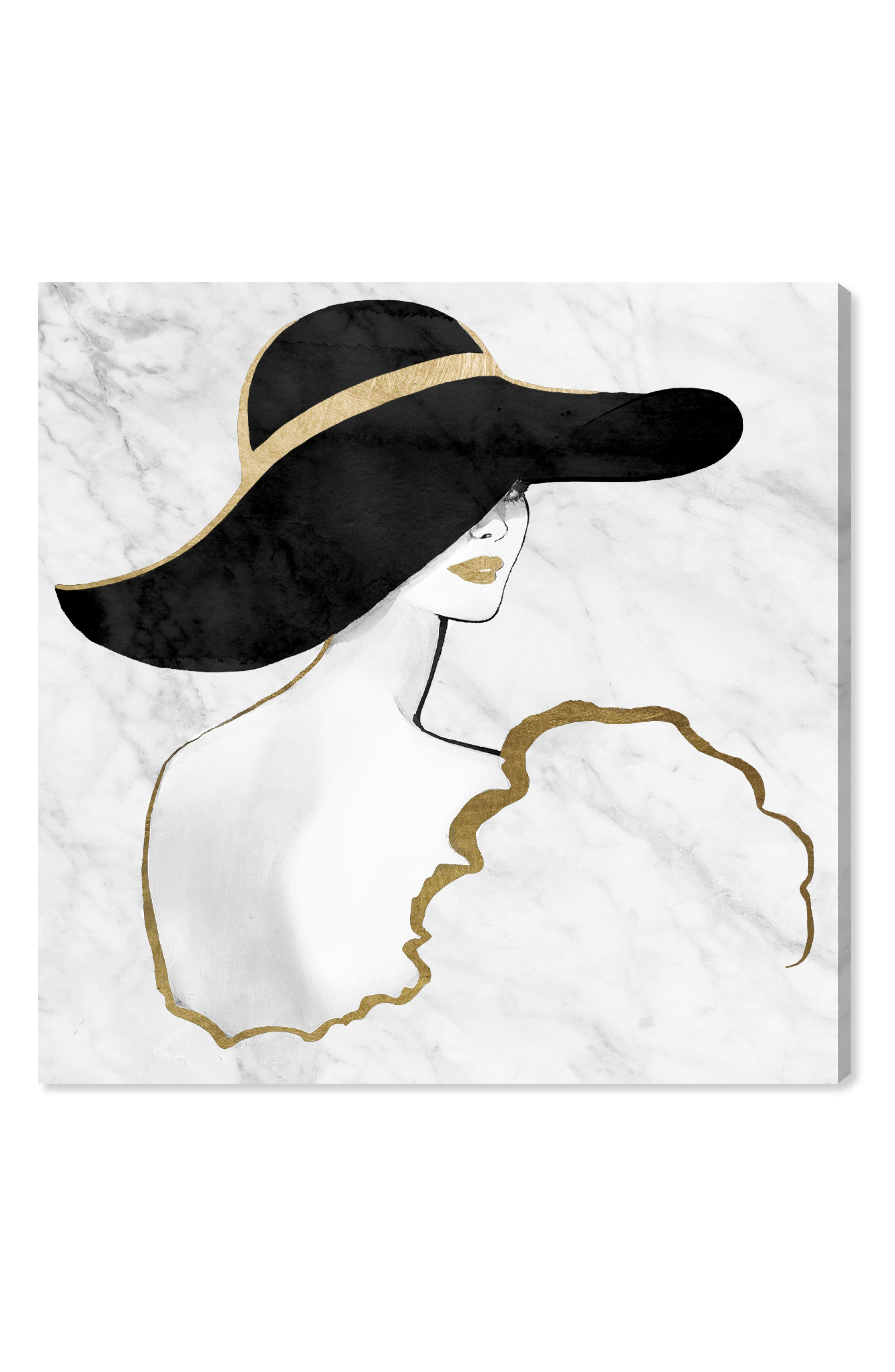 Gill Bay - Black and Gold Canvas Wall Art,                         Main,                         color, White