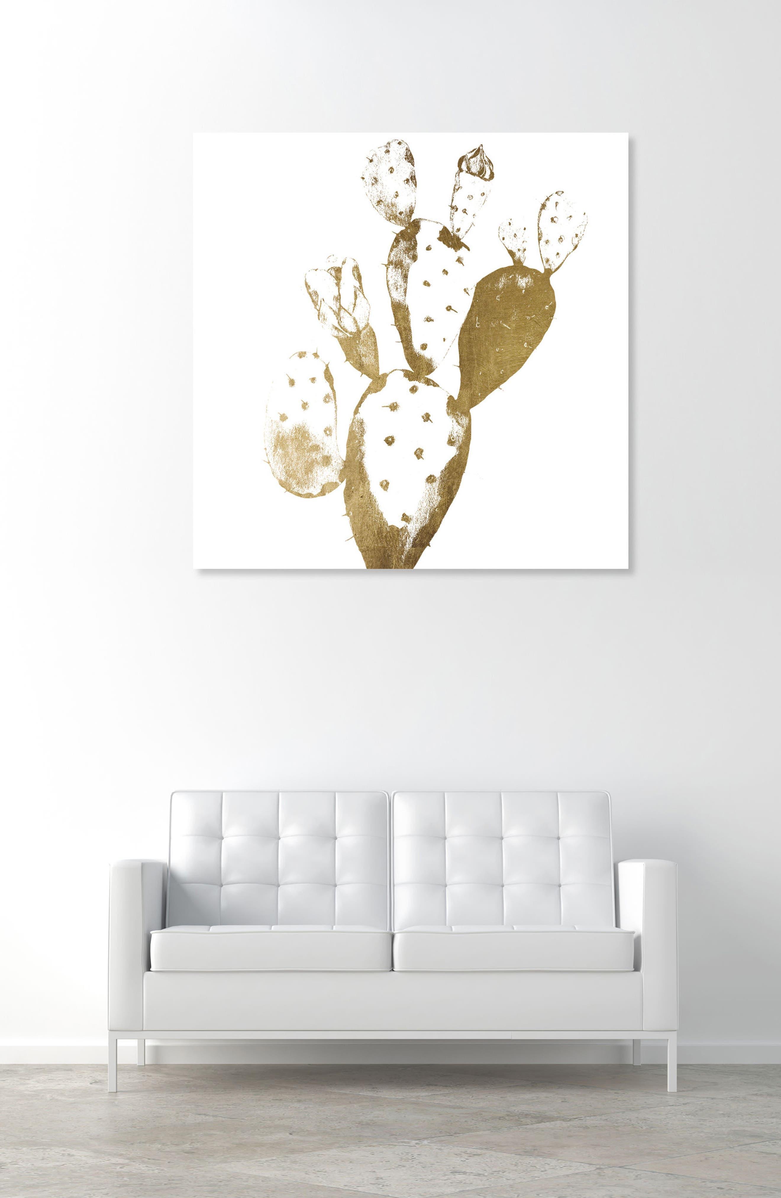 Cactus Gold II Canvas Wall Art,                             Alternate thumbnail 2, color,                             Metallic Gold