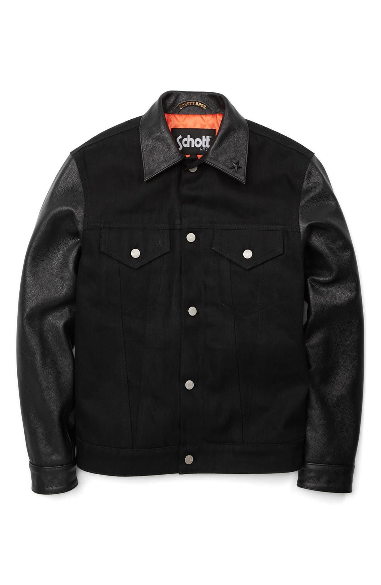 x Schott Denim Jacket,                             Alternate thumbnail 6, color,                             Black