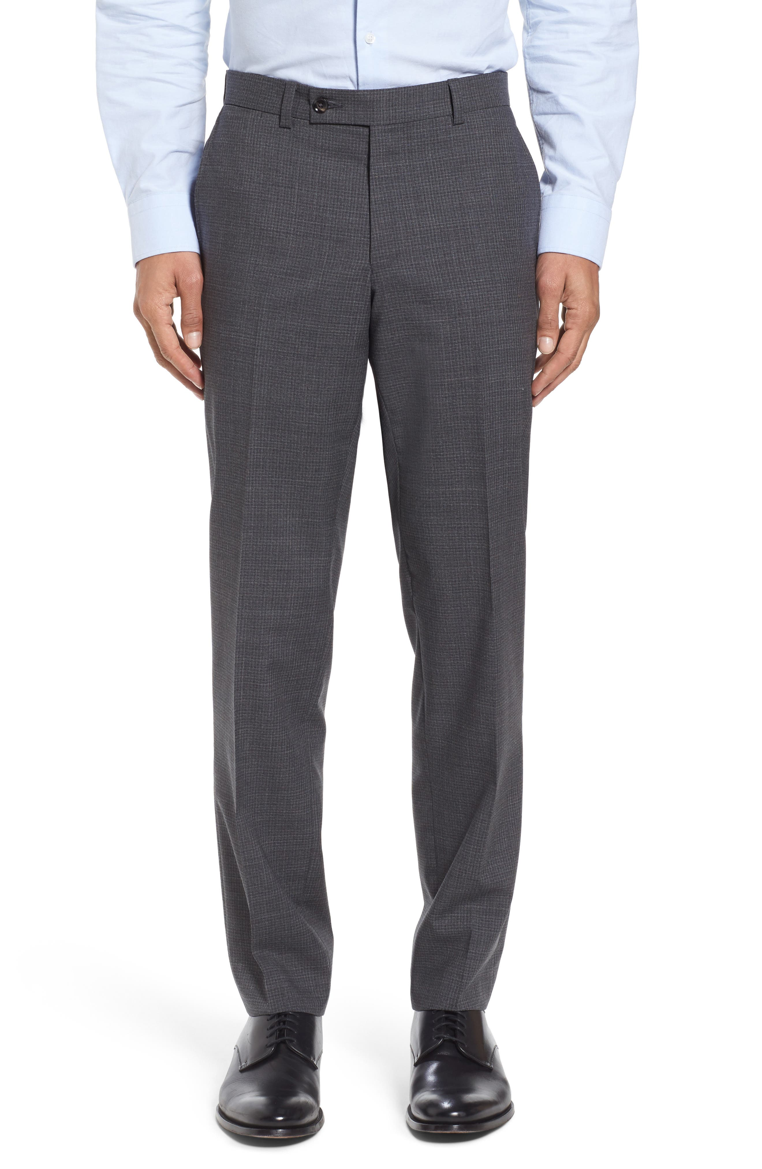 Flat Front Check Wool Trousers,                         Main,                         color, Grey