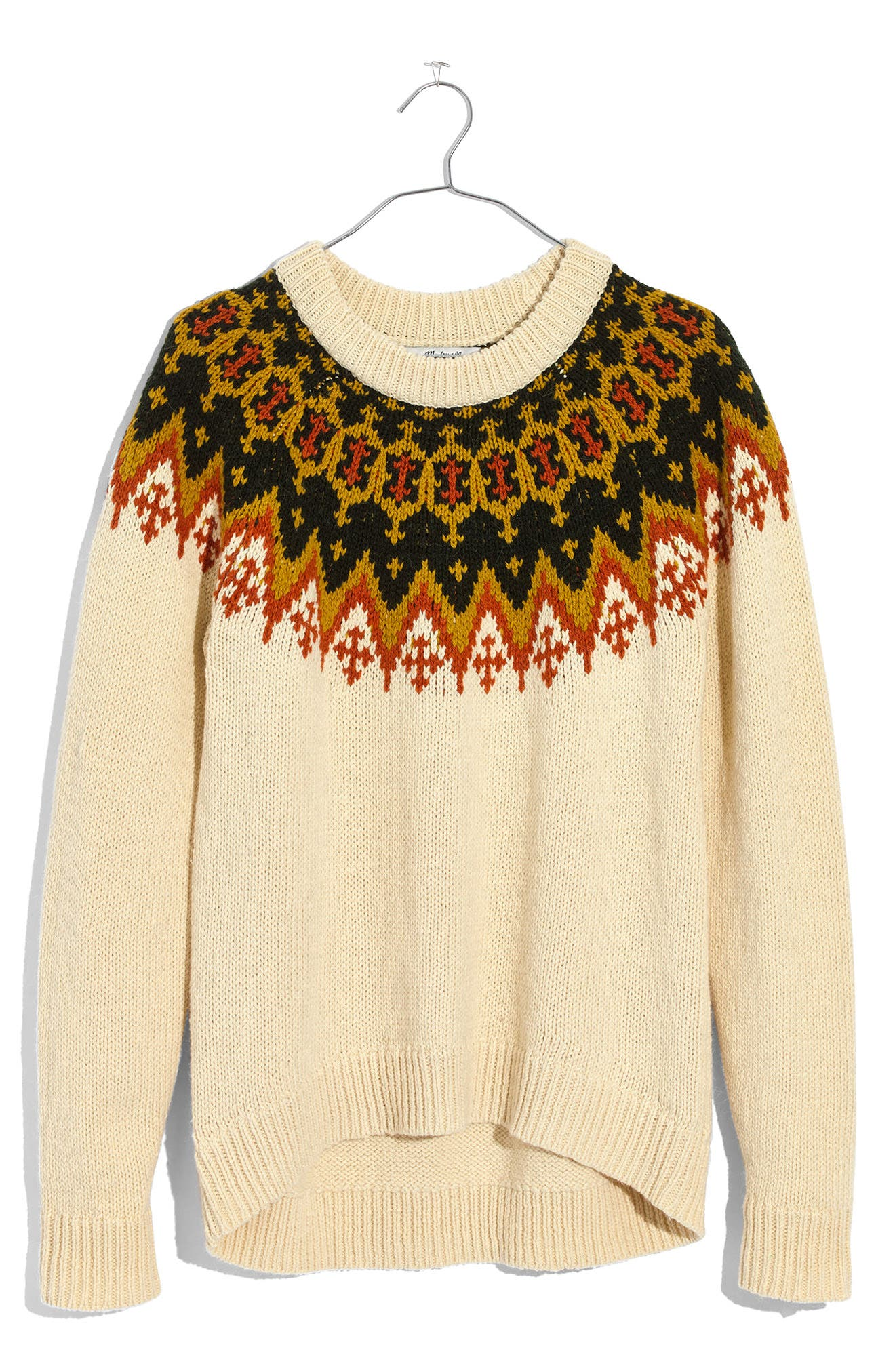 Fair Isle Sweater,                             Alternate thumbnail 3, color,                             Vintage Cream