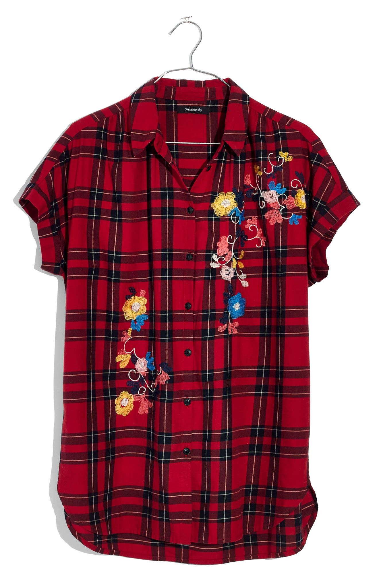 Central Embroidered Plaid Shirt,                             Alternate thumbnail 4, color,                             True Red
