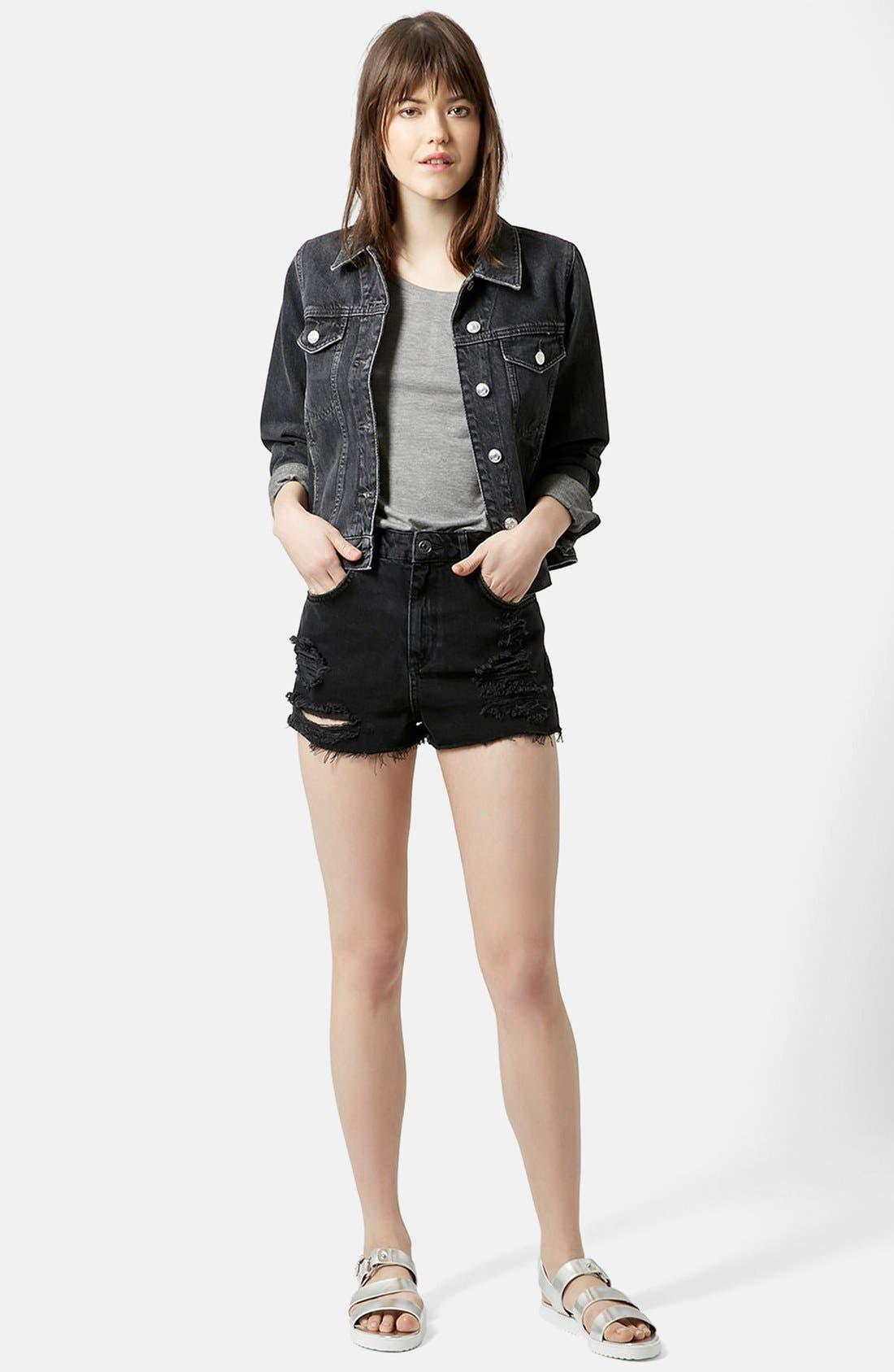 Alternate Image 5  - Topshop Moto Ripped Shorts (Black)