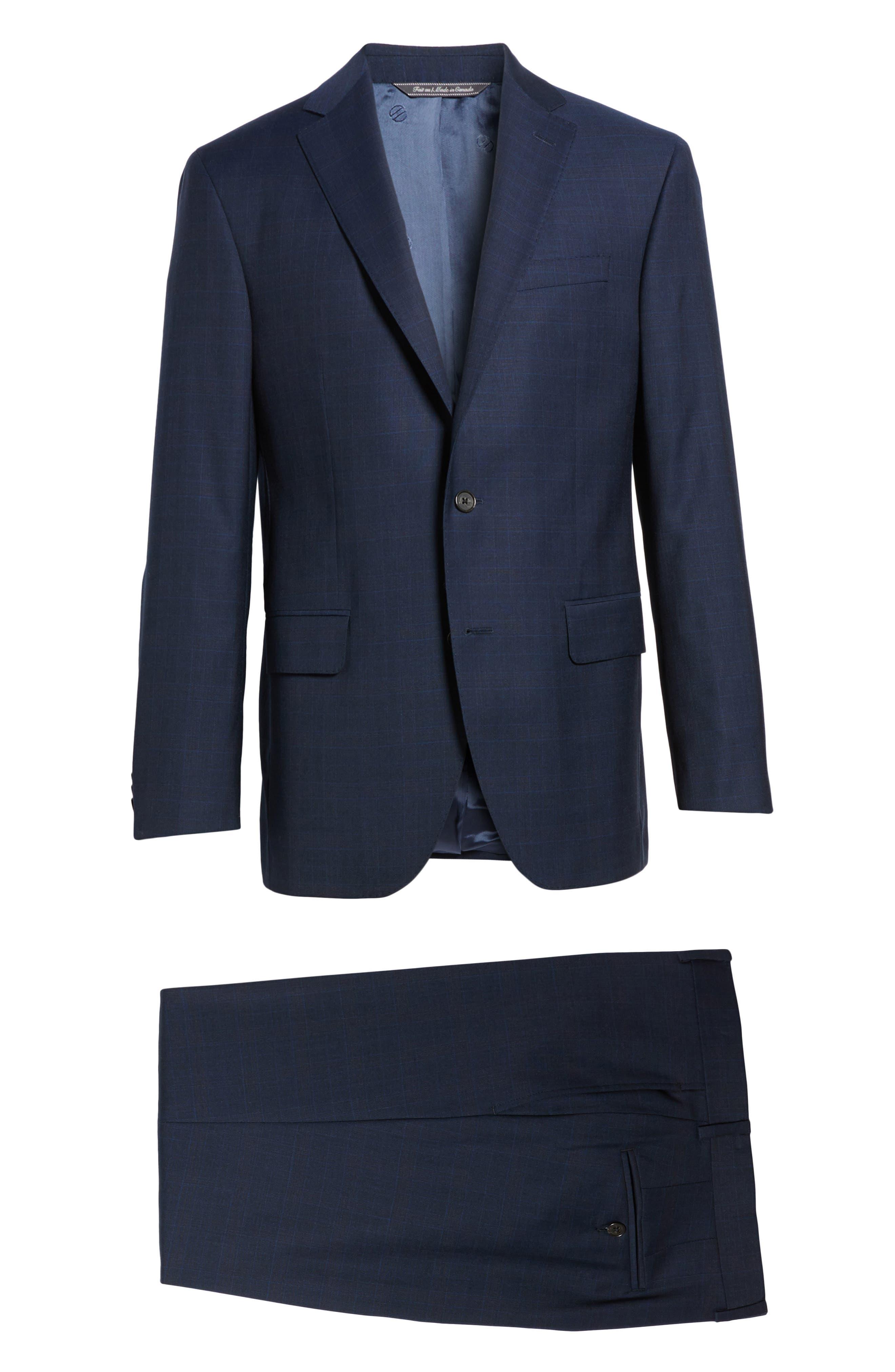 Ryan Classic Fit Plaid Wool Suit,                             Alternate thumbnail 8, color,                             Navy