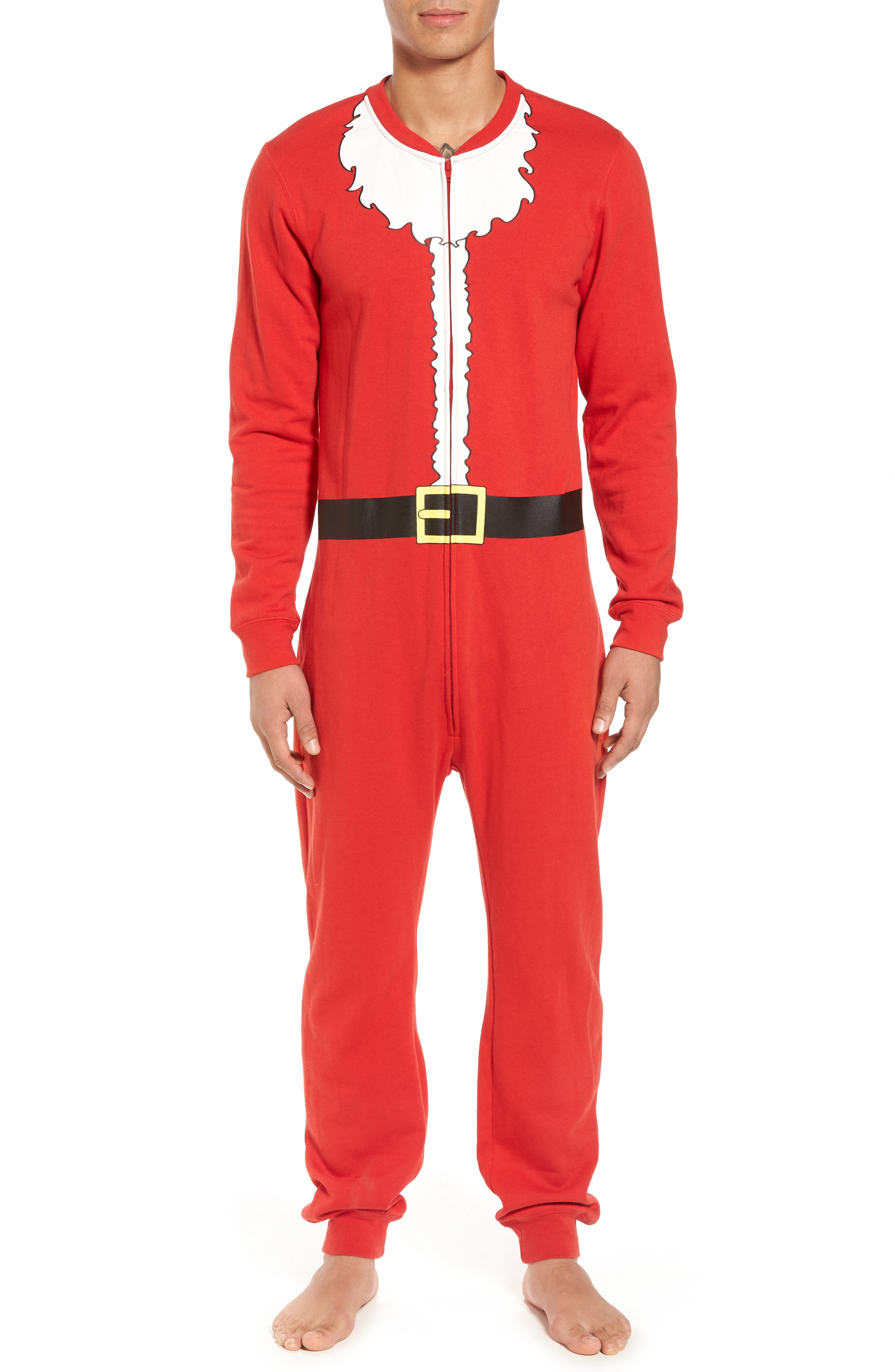 Fleece One-Piece Pajamas,                         Main,                         color, Red Santa