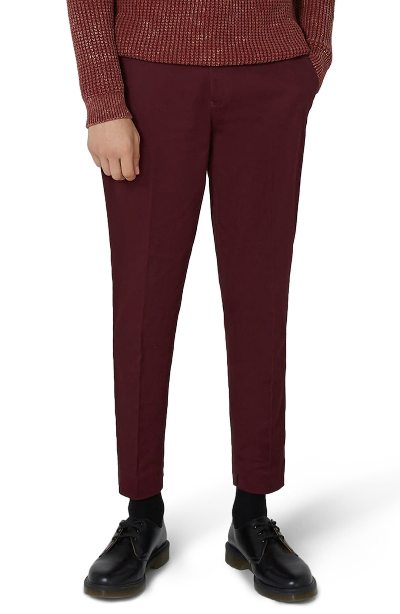 Twill Tapered Trousers,                         Main,                         color, Burgundy