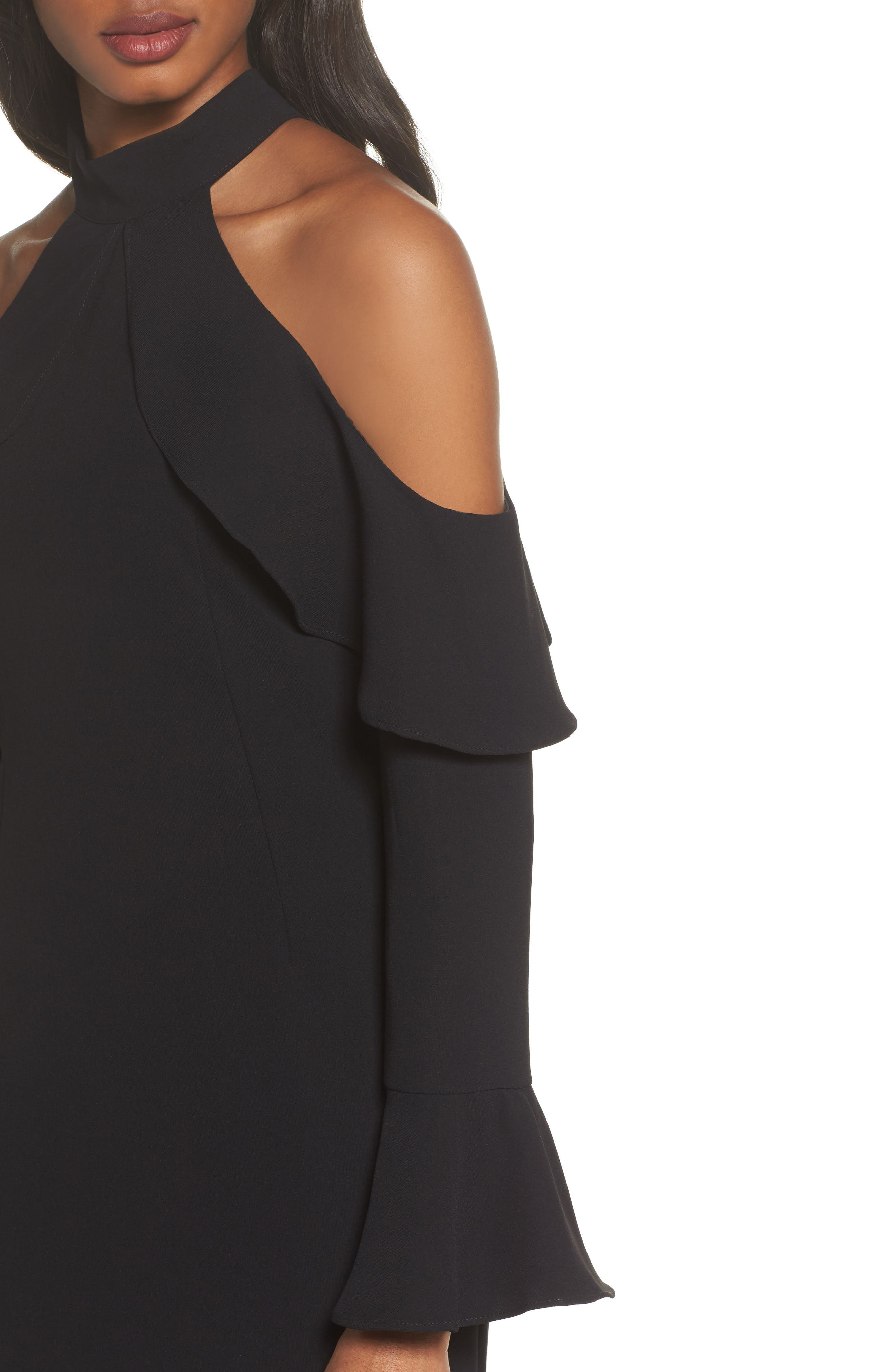 Nightshade Cold Shoulder Sheath Dress,                             Alternate thumbnail 4, color,                             Black