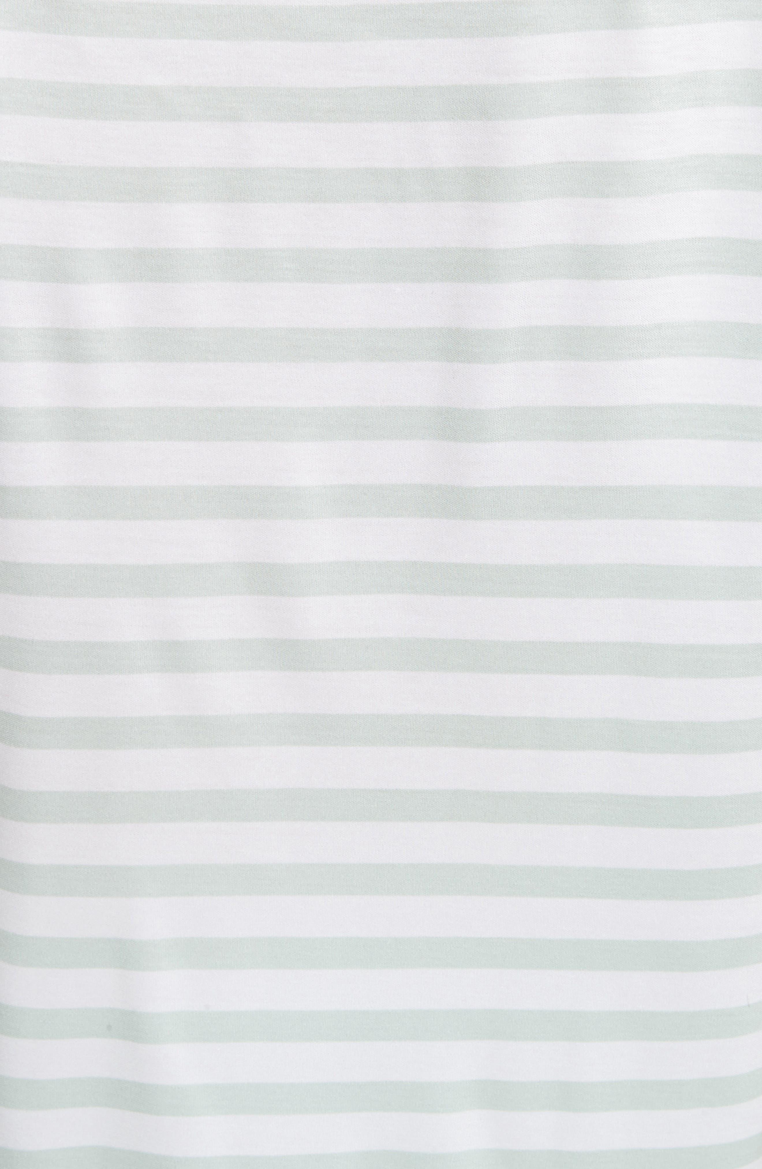 Stripe Jersey Gathered Tee,                             Alternate thumbnail 6, color,                             Bianco/ Mint