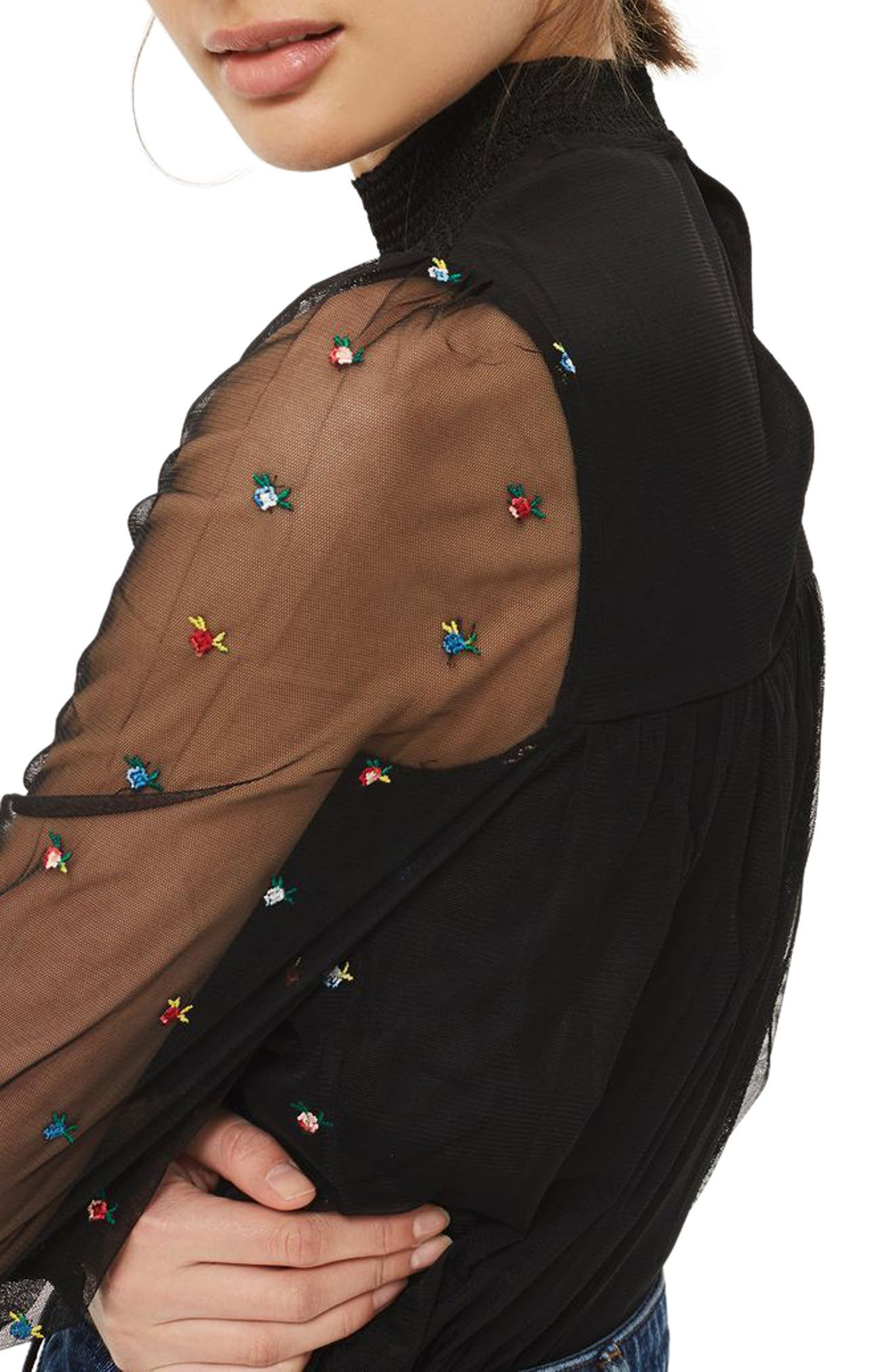 Alternate Image 3  - Topshop Ditsy Embroidered Smock Top