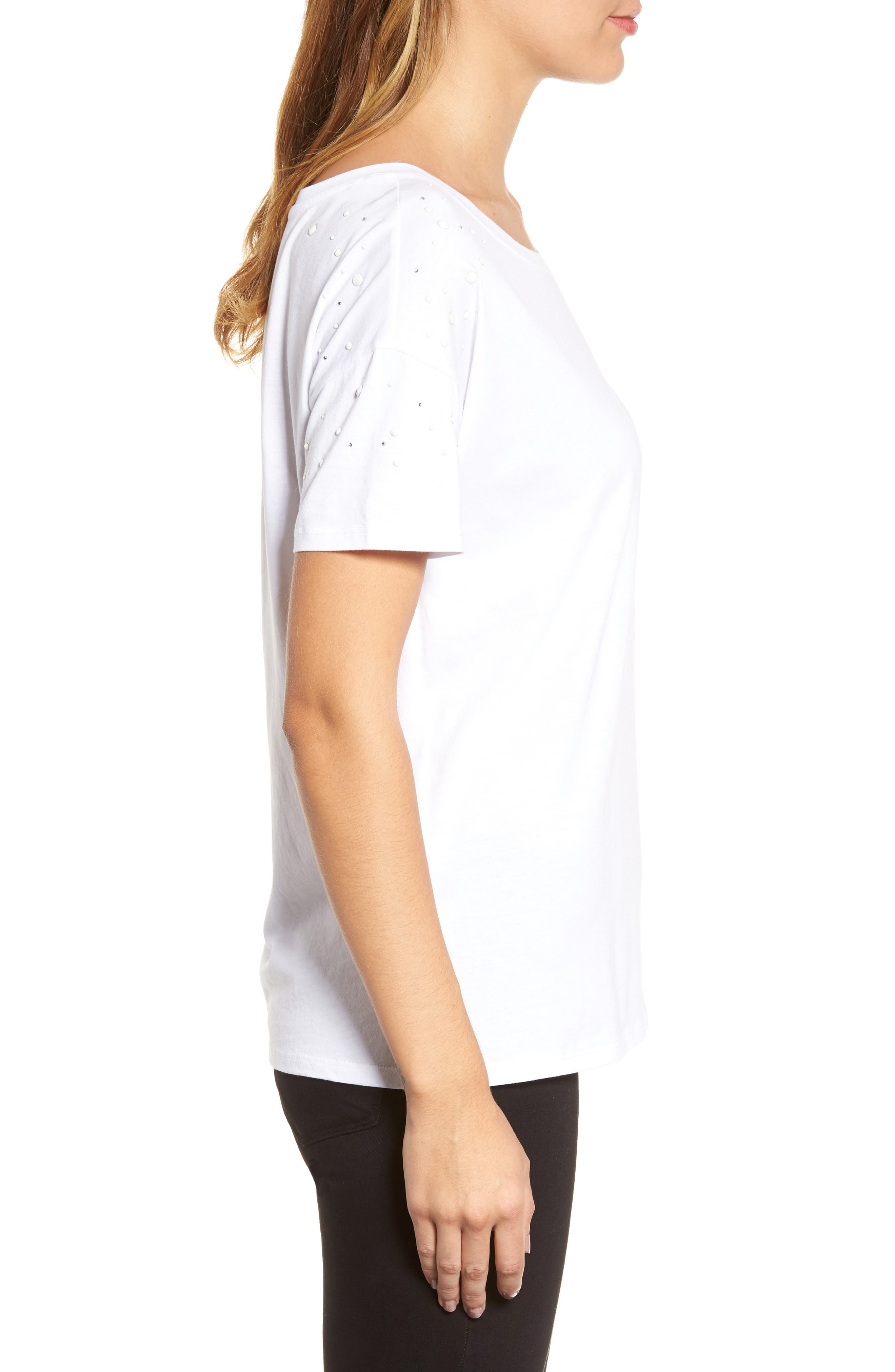 Short Sleeve Pearly T-Shirt,                             Alternate thumbnail 3, color,                             White W/ White Pearls