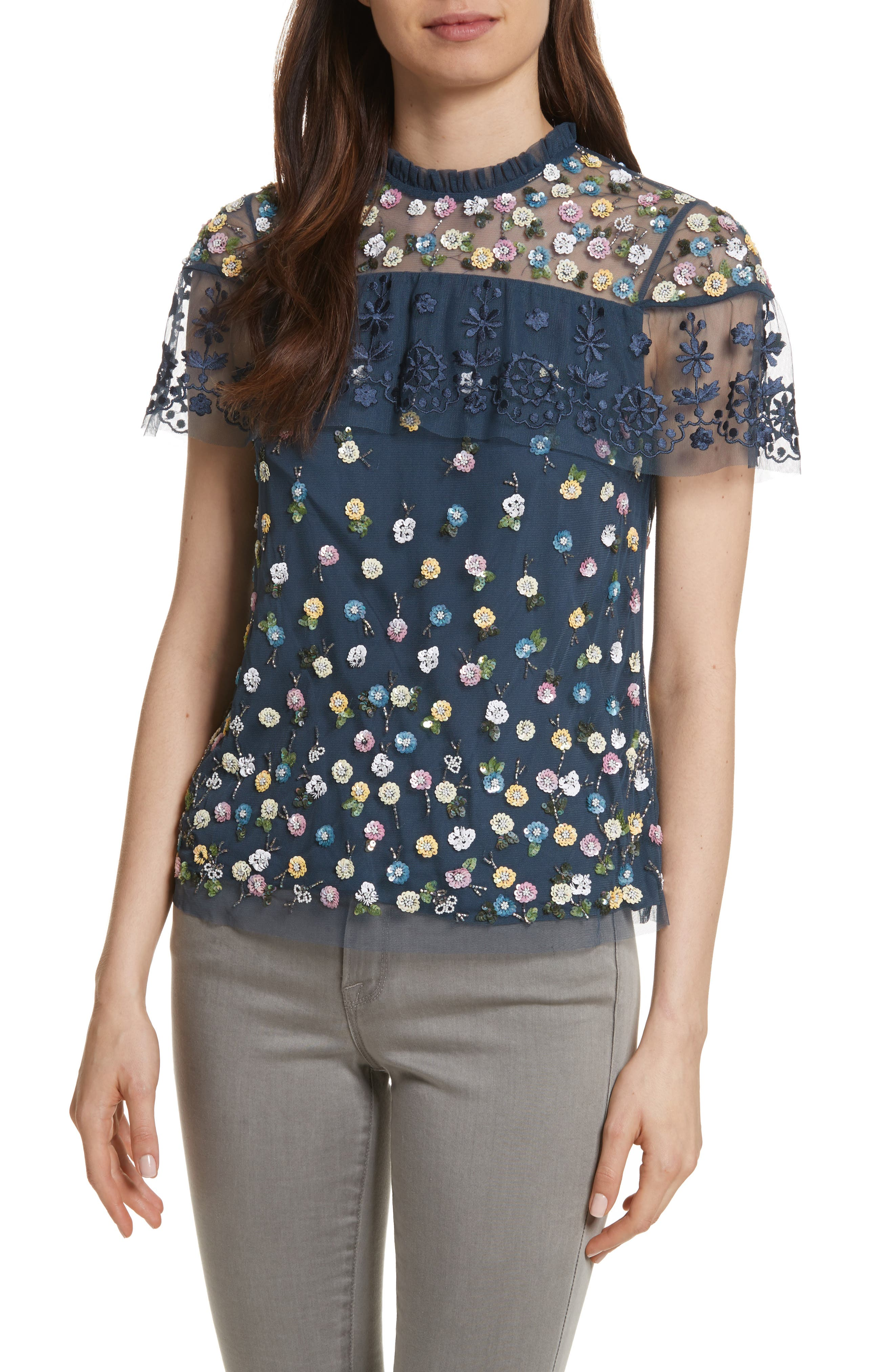 Anglais Tiered Tulle Top,                         Main,                         color, Washed Indigo