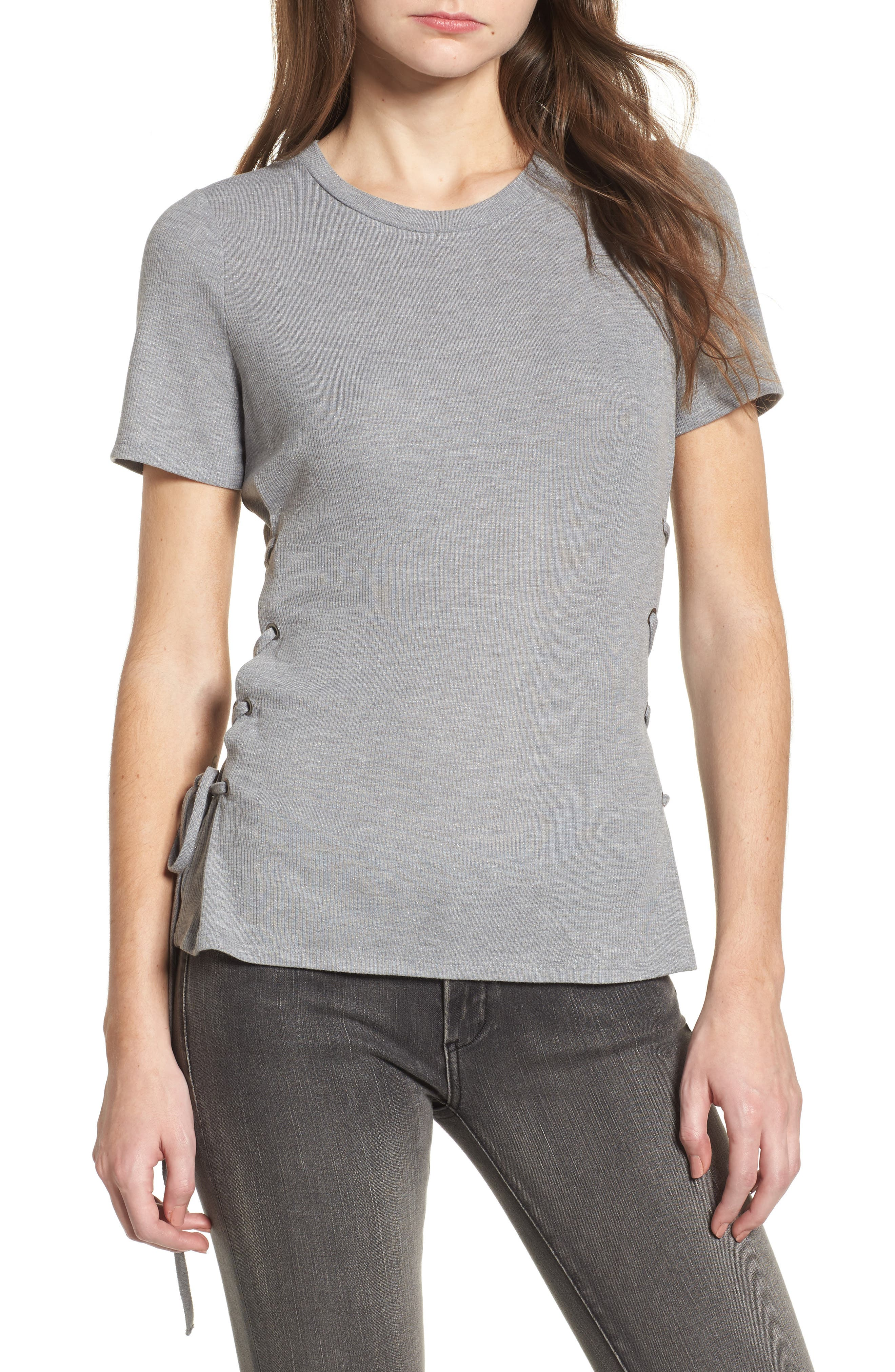 Lace-Up Tee,                         Main,                         color, Grey