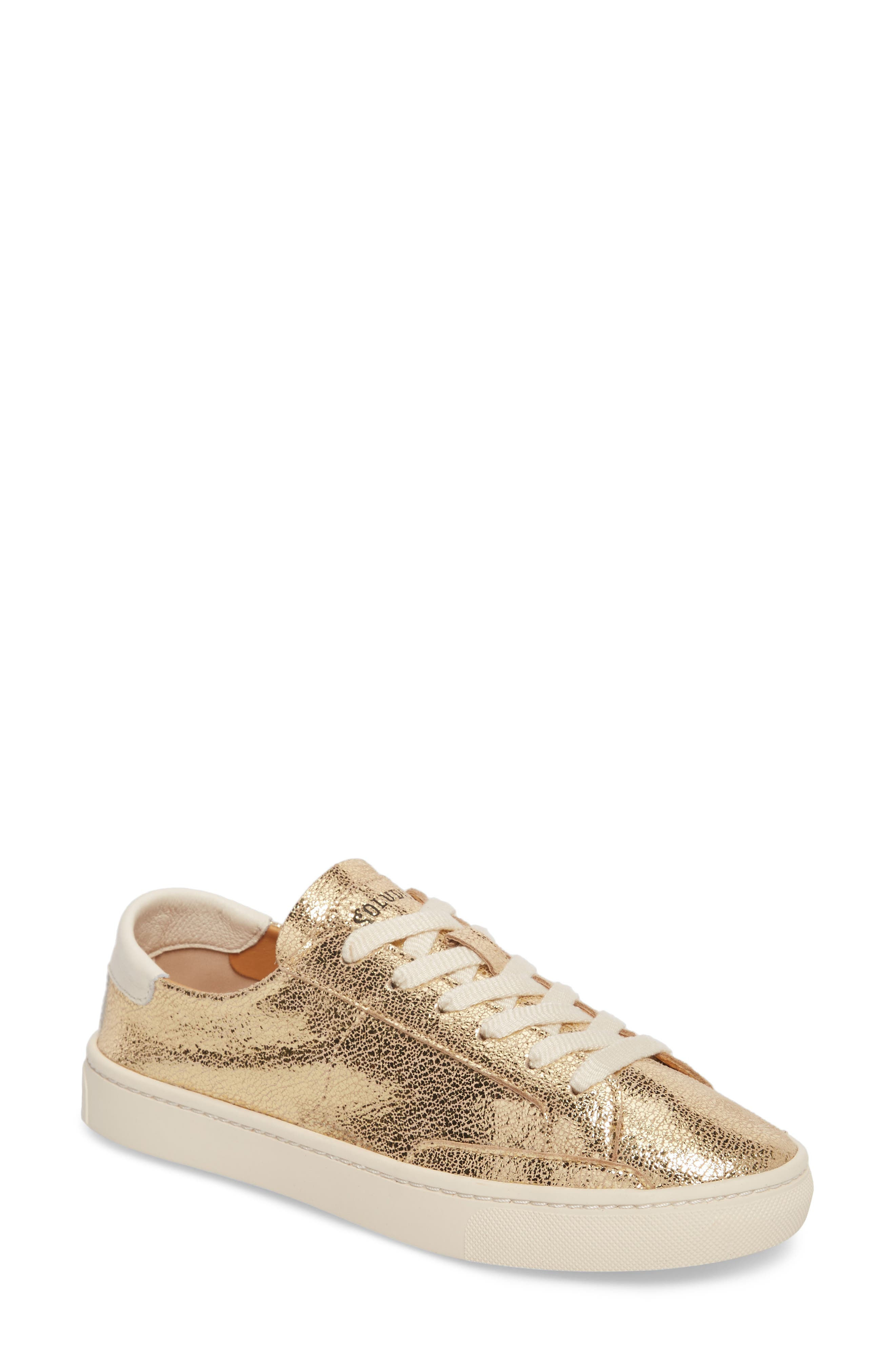 Ibiza Metallic Lace-Up Sneaker,                             Main thumbnail 1, color,                             Pale Gold Leather