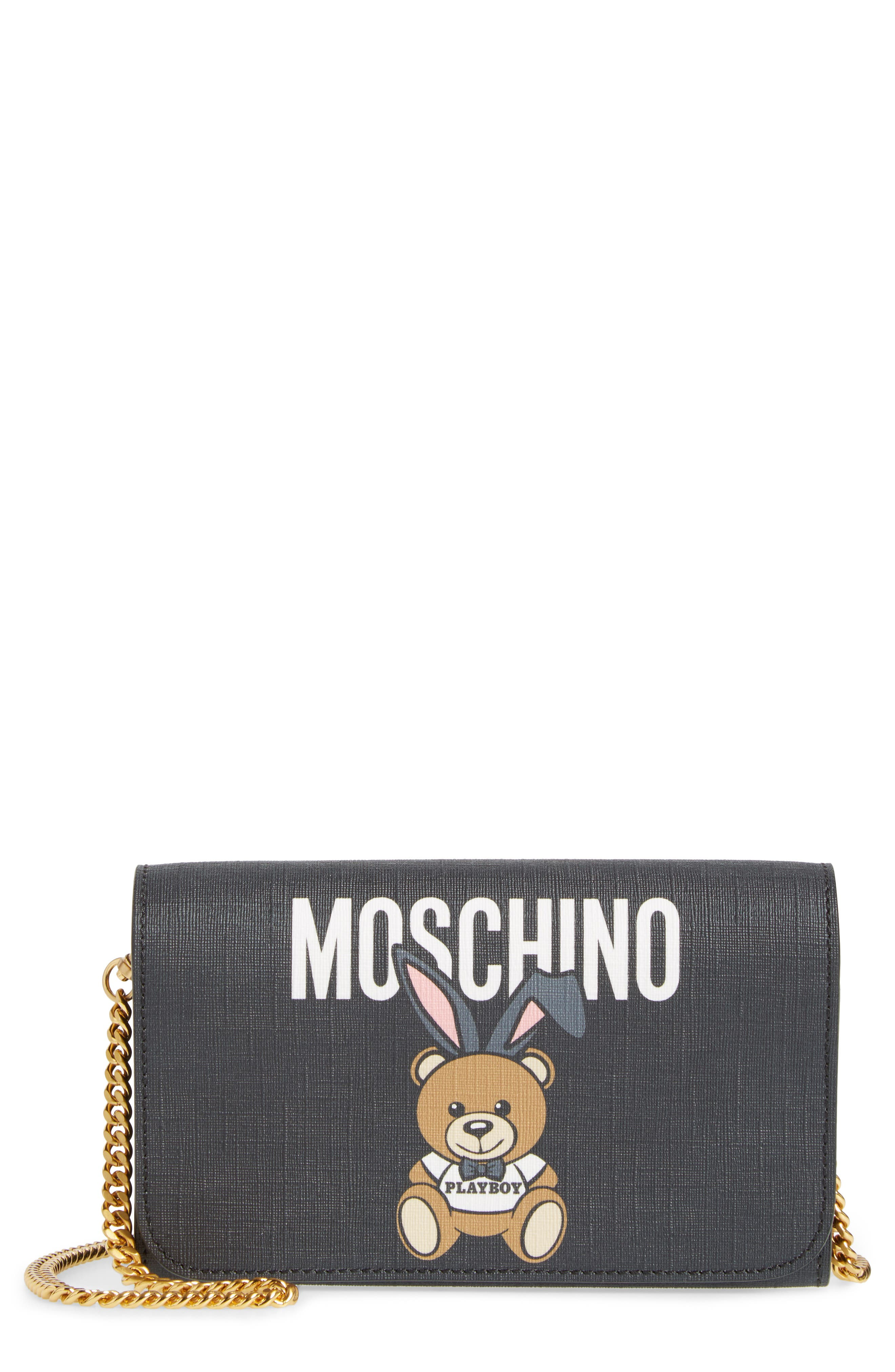 Moschino x Playboy Bunny Bear Leather Wallet on a Chain