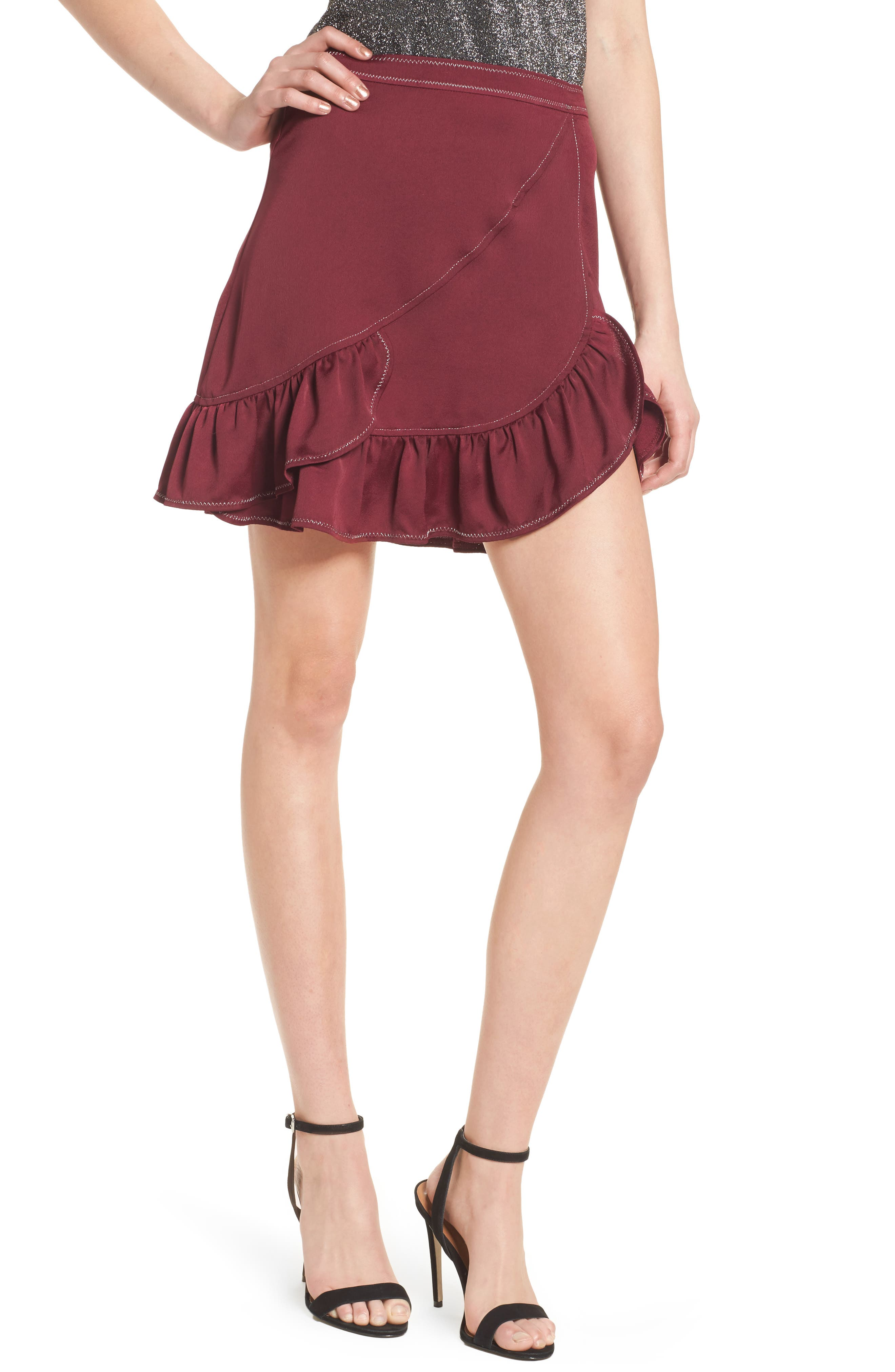 Brielle Ruffle Miniskirt,                         Main,                         color, Frosted Grape