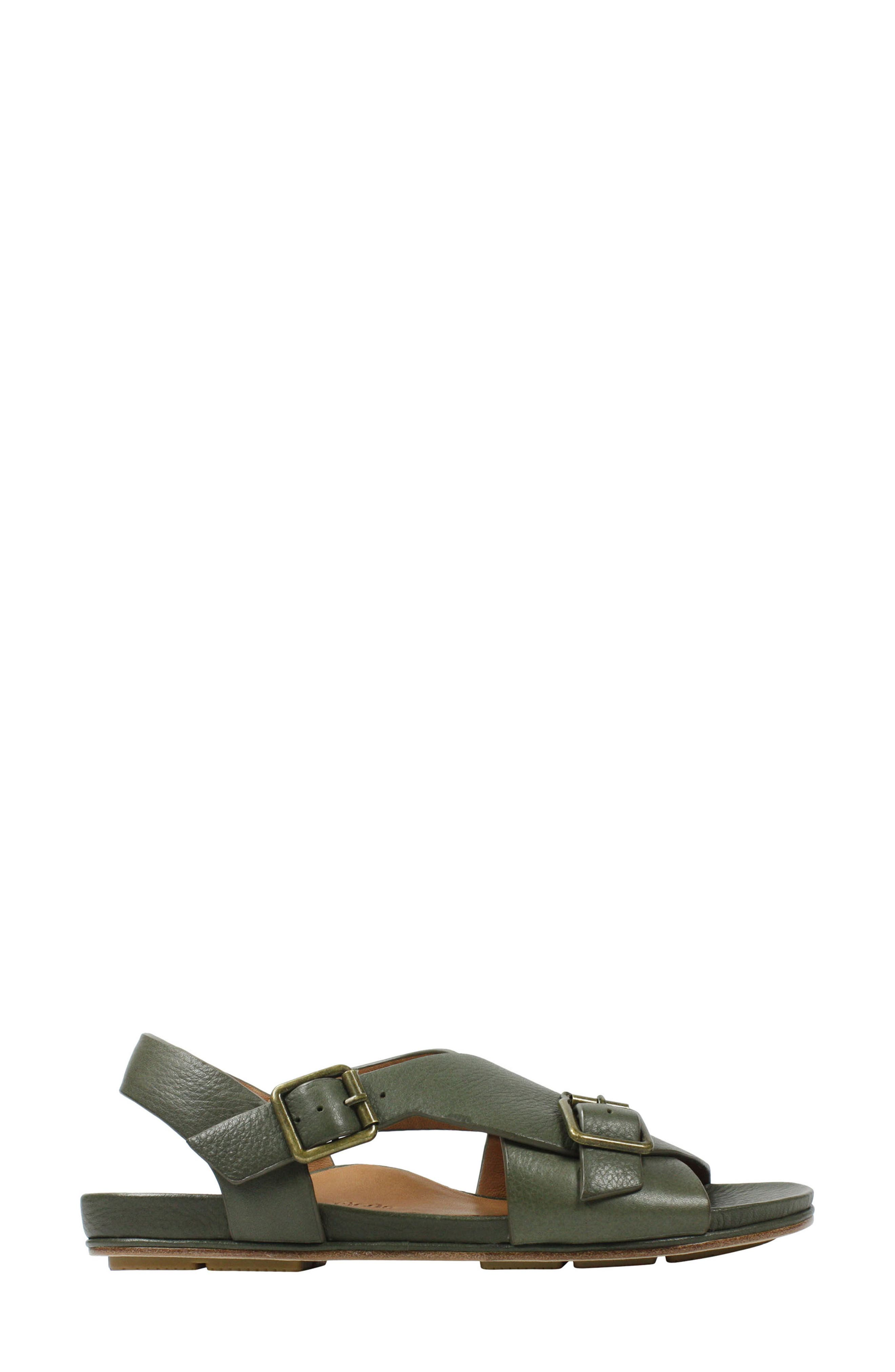 Dordogne Sandal,                             Alternate thumbnail 3, color,                             Olive Leather