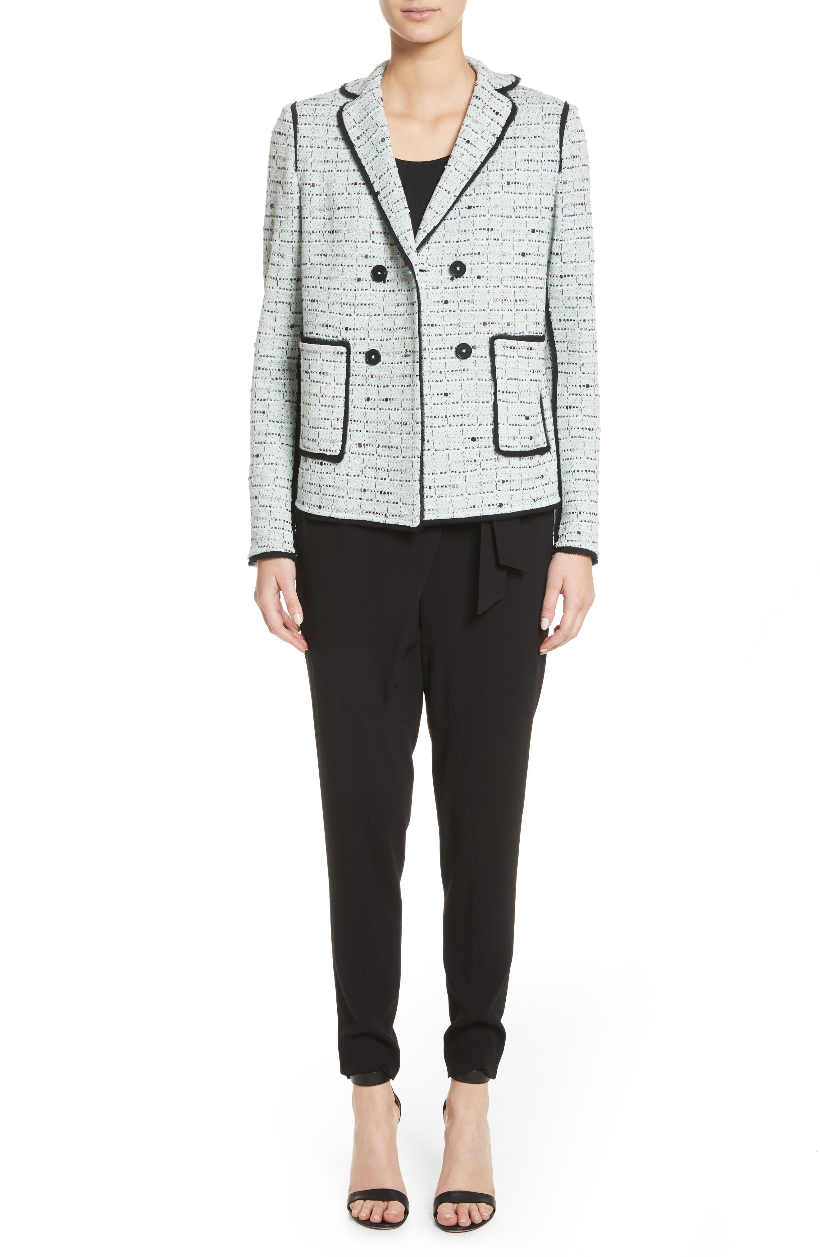Adriana Tweed Double Breasted Blazer,                             Alternate thumbnail 7, color,                             Mint Multi