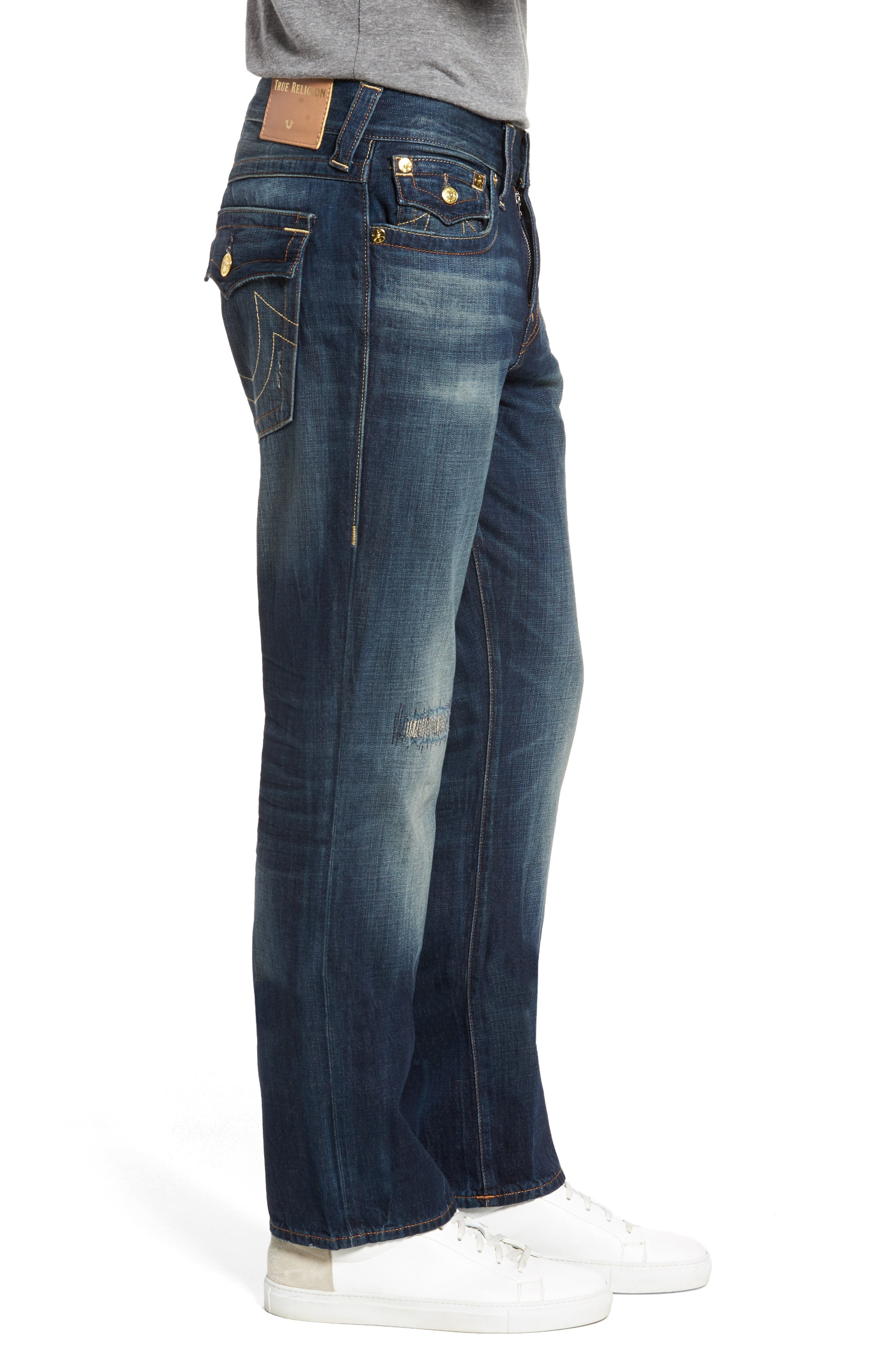 Geno Straight Leg Jeans,                             Alternate thumbnail 3, color,                             Mended Center Stage