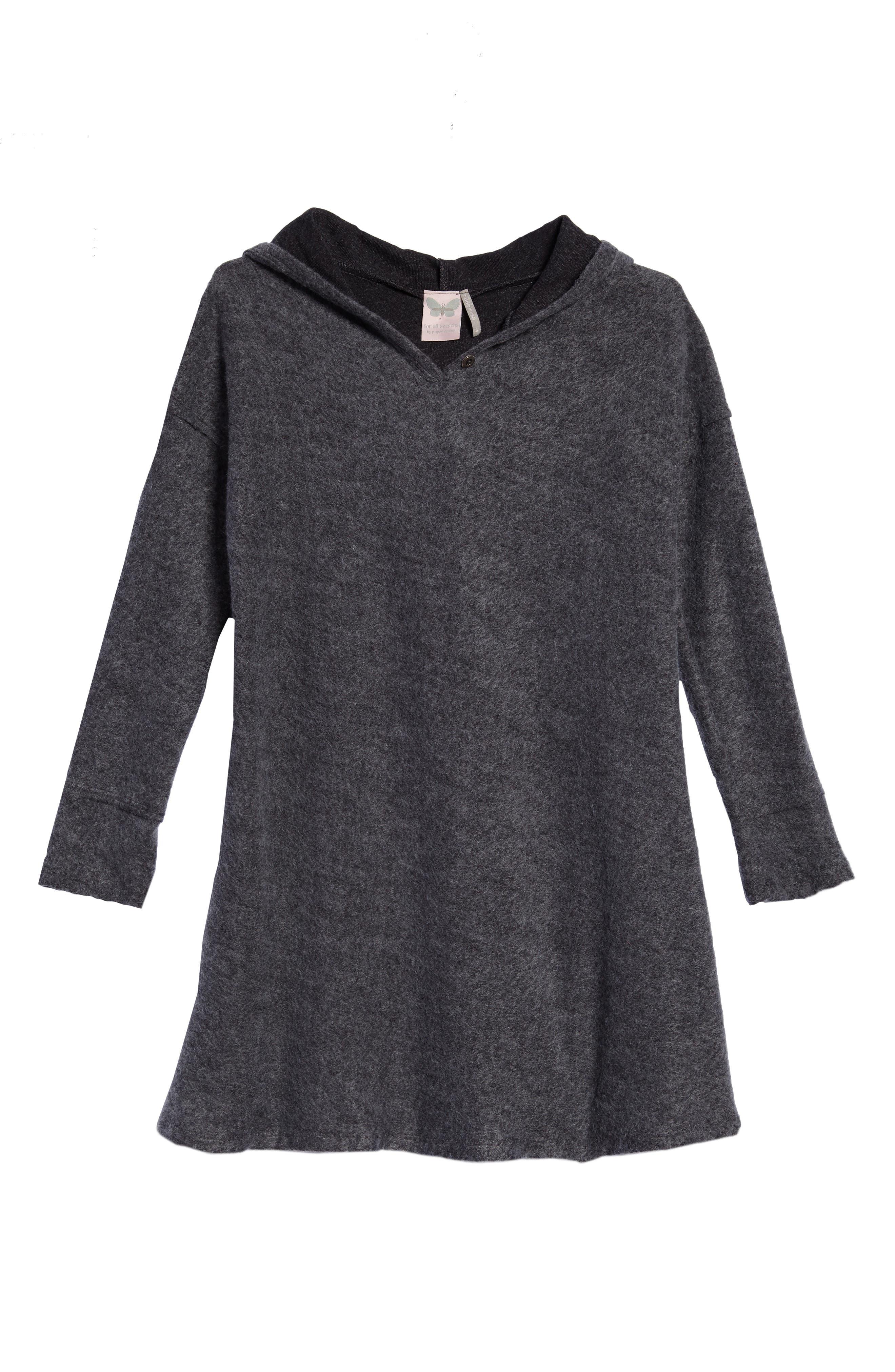 Hooded Swing Dress,                             Main thumbnail 1, color,                             Charcoal