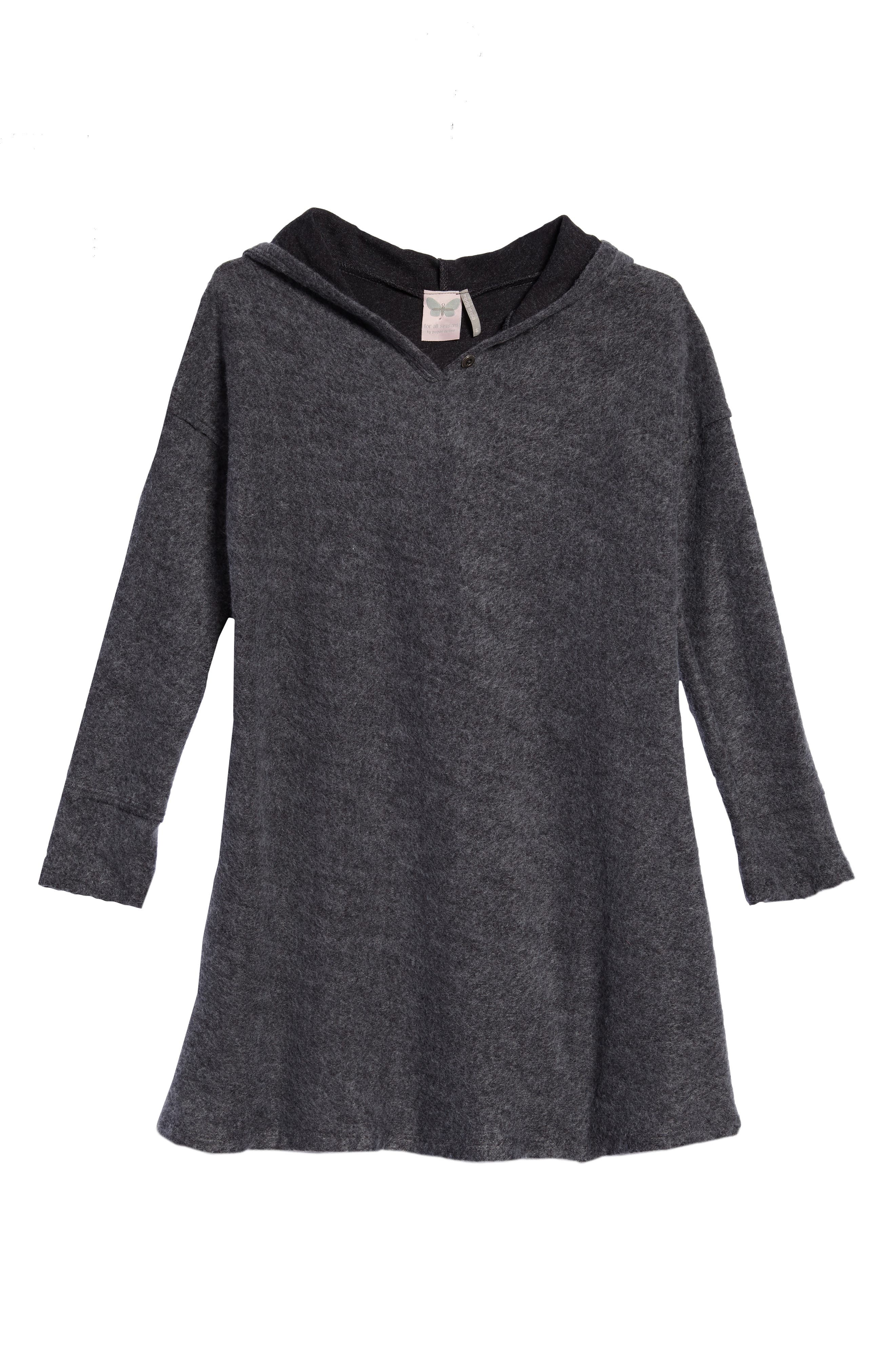 Hooded Swing Dress,                         Main,                         color, Charcoal