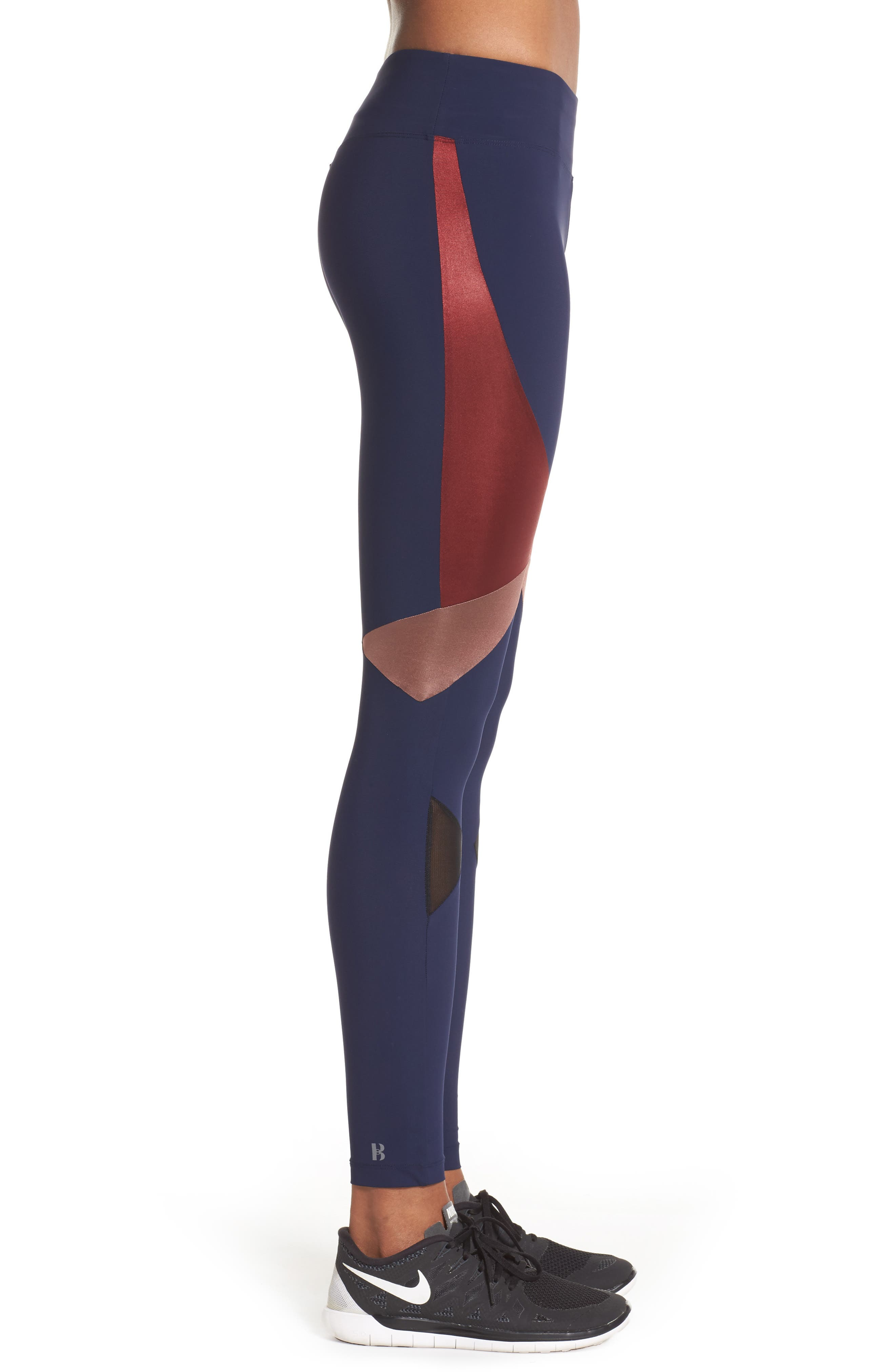 BoomBoom Athletica Compression Leggings,                             Alternate thumbnail 3, color,                             Navy/Oxblood/Rose Gold