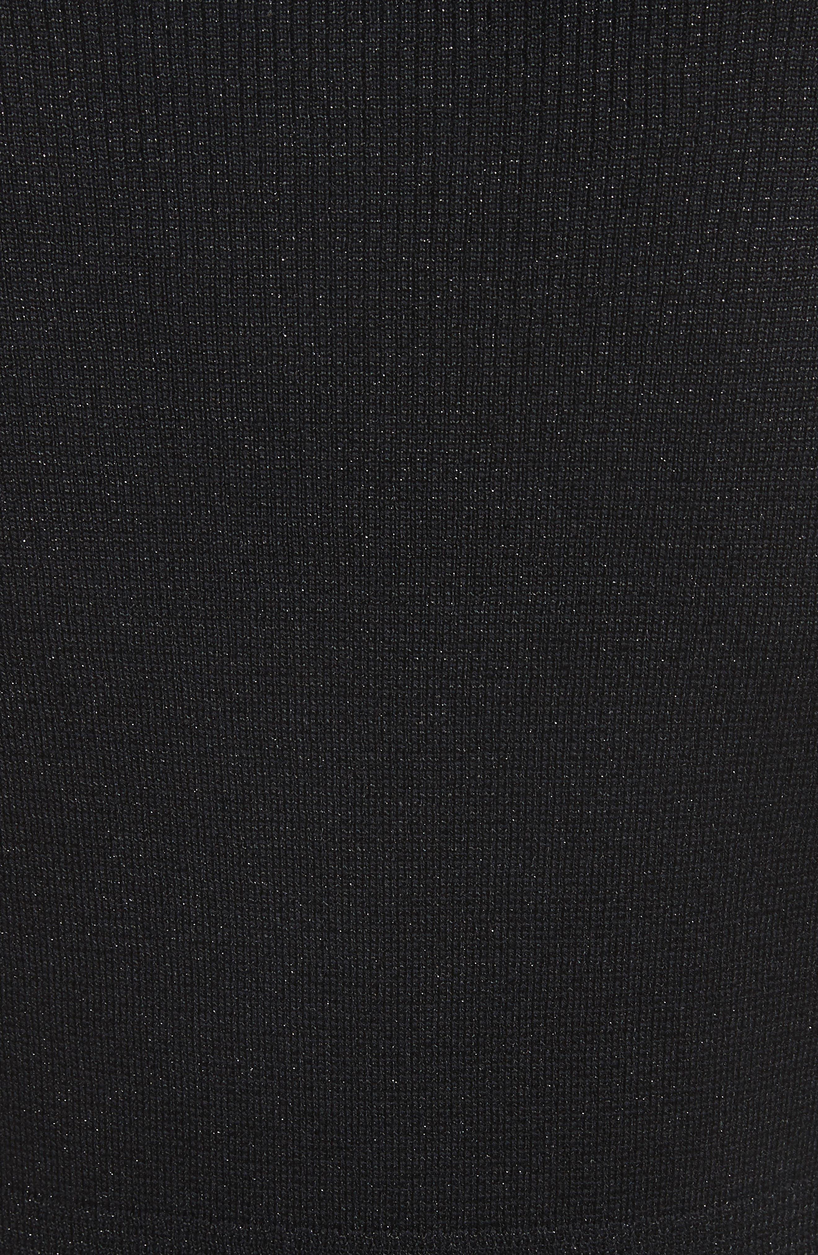 Scalloped Metallic Knit Cardigan,                             Alternate thumbnail 6, color,                             Caviar Multi
