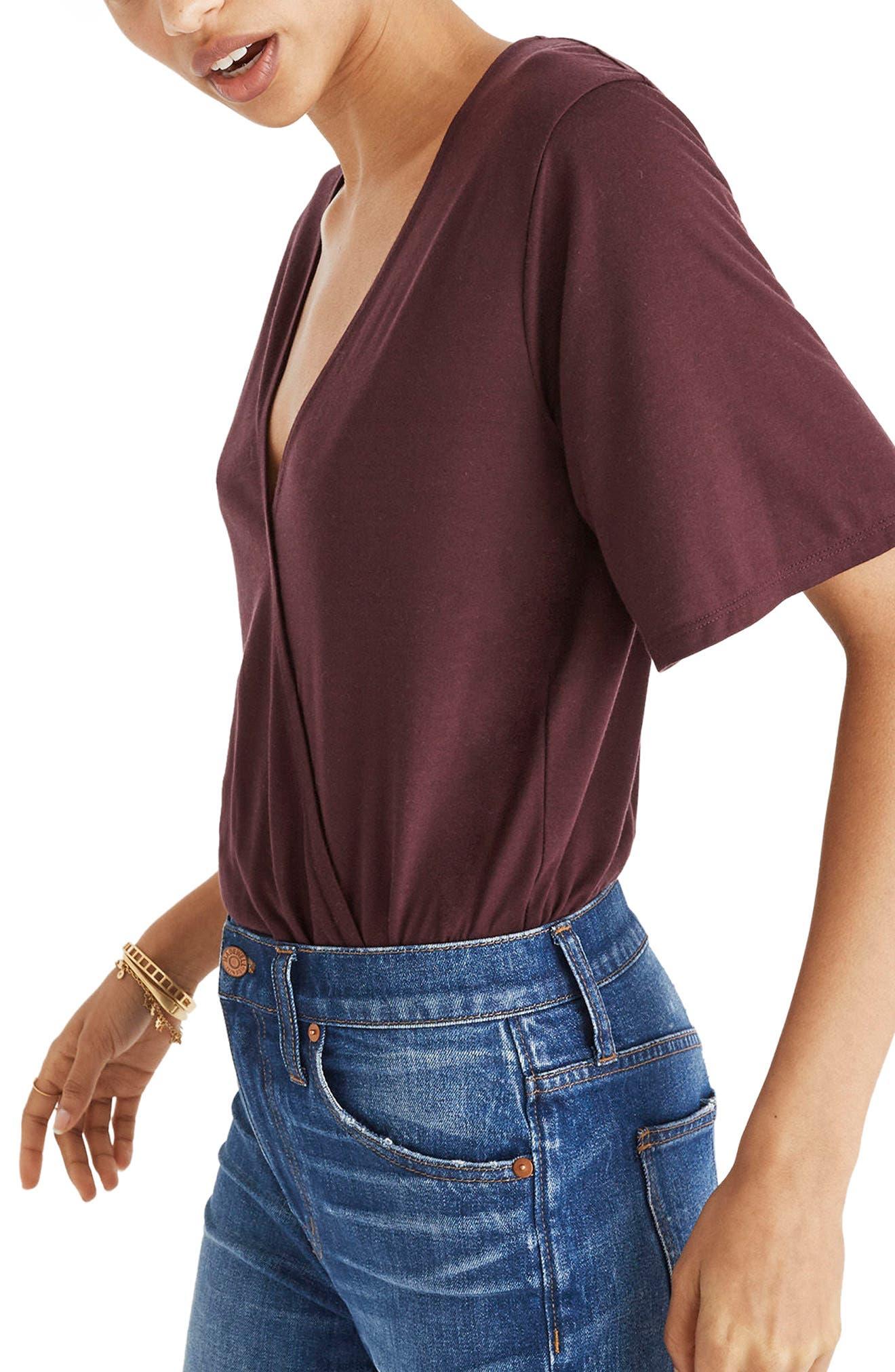Faux Wrap Bodysuit,                         Main,                         color, Rich Plum