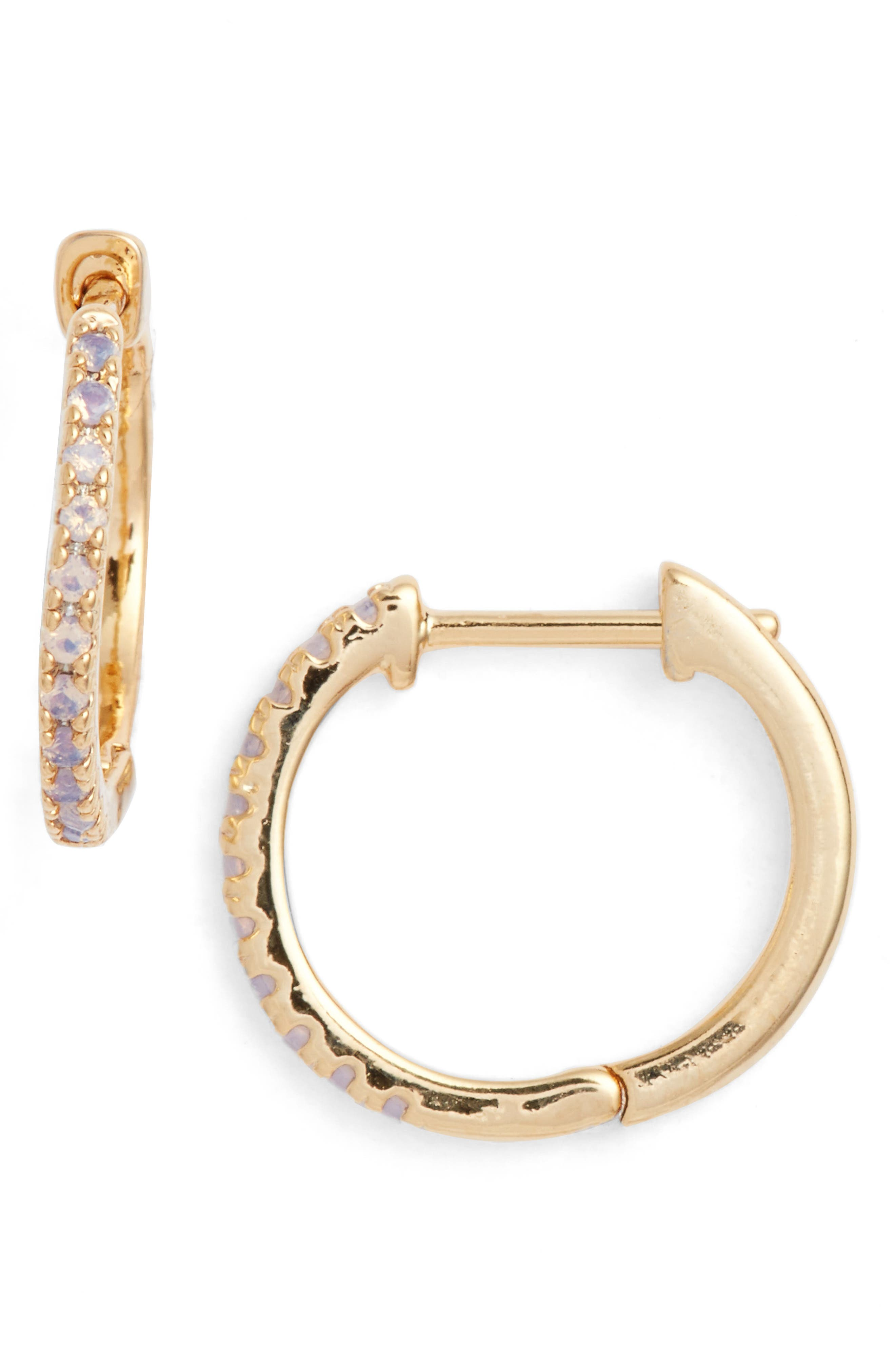 Kennedy Petite Stone Hoops,                             Main thumbnail 1, color,                             Gold/ Opalite