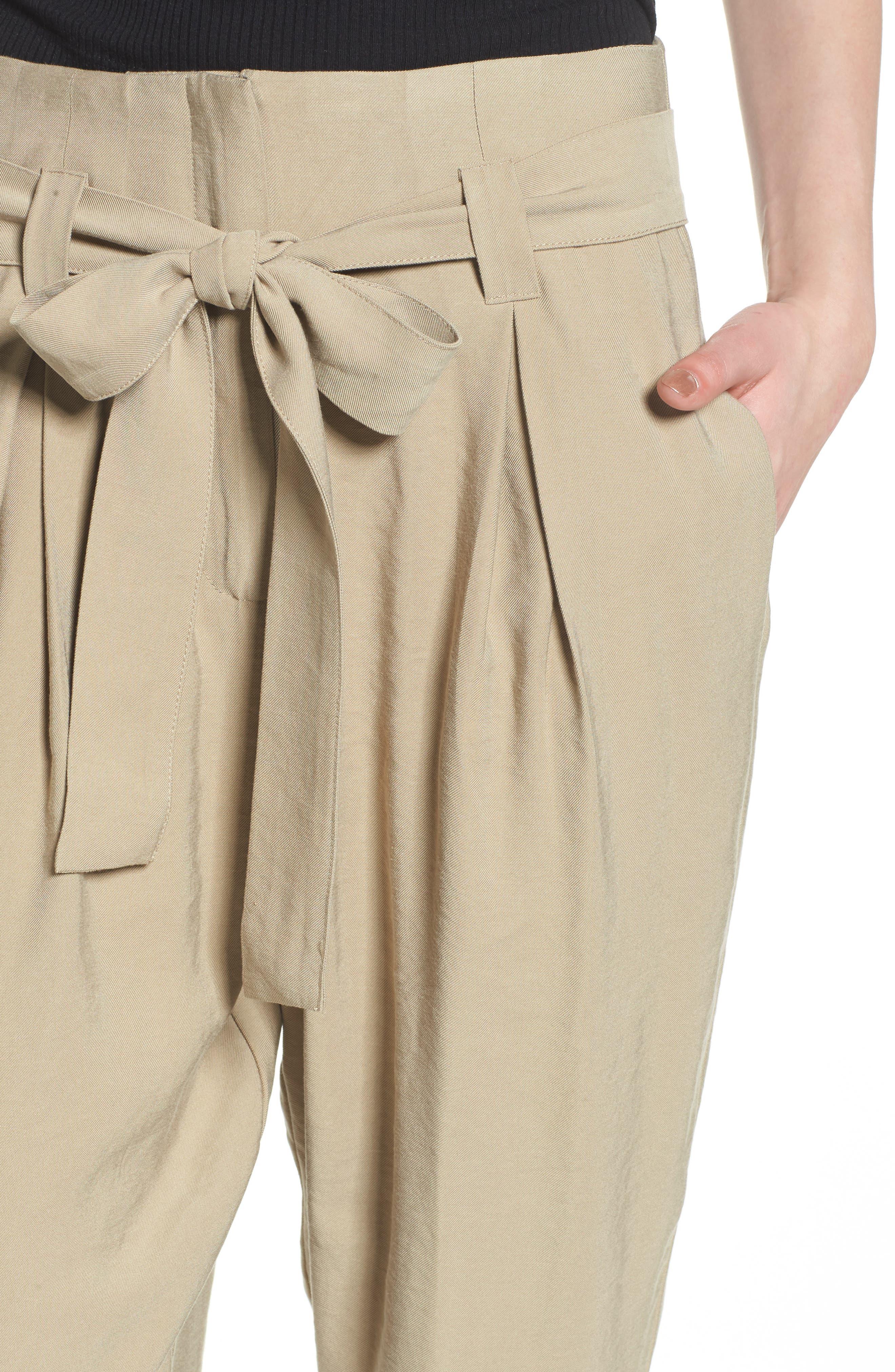 High Waist Tie Front Cropped Pants,                             Alternate thumbnail 4, color,                             Latte