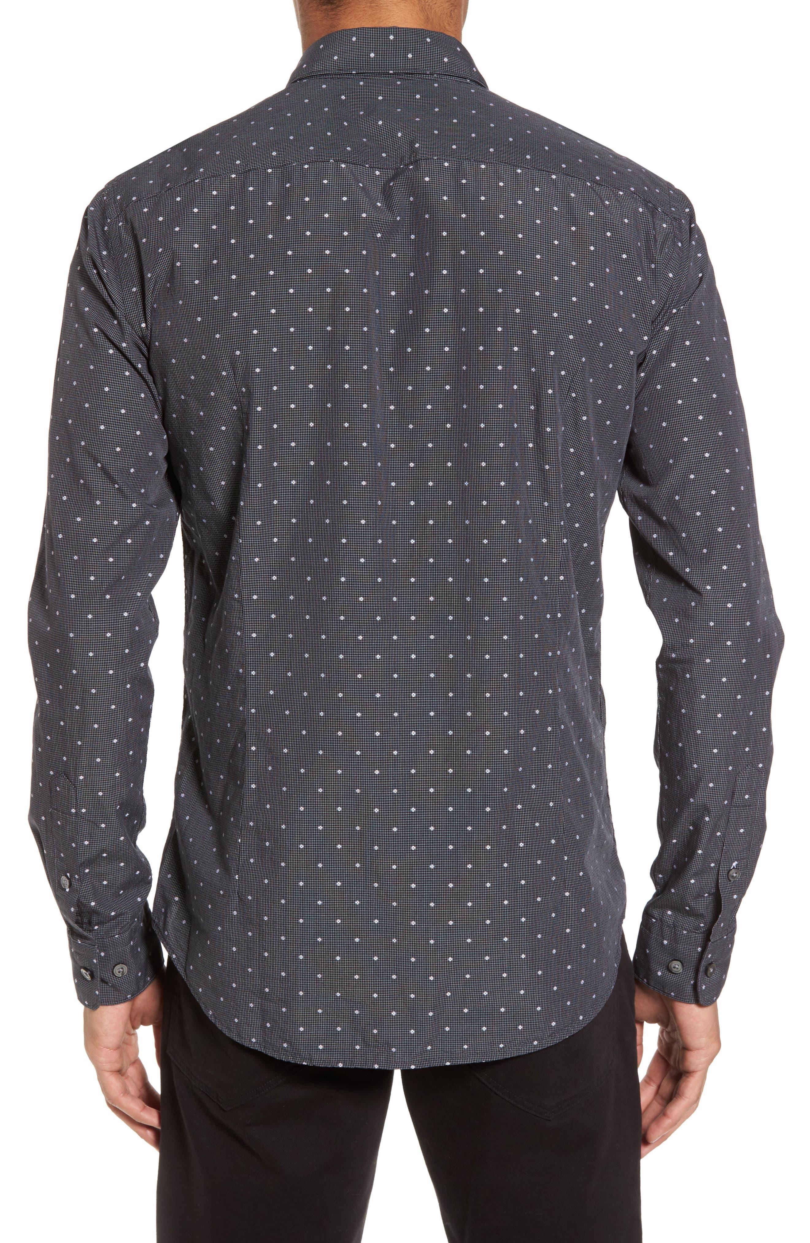 Ridley Slim Fit Dot Sport Shirt,                             Alternate thumbnail 2, color,                             Black