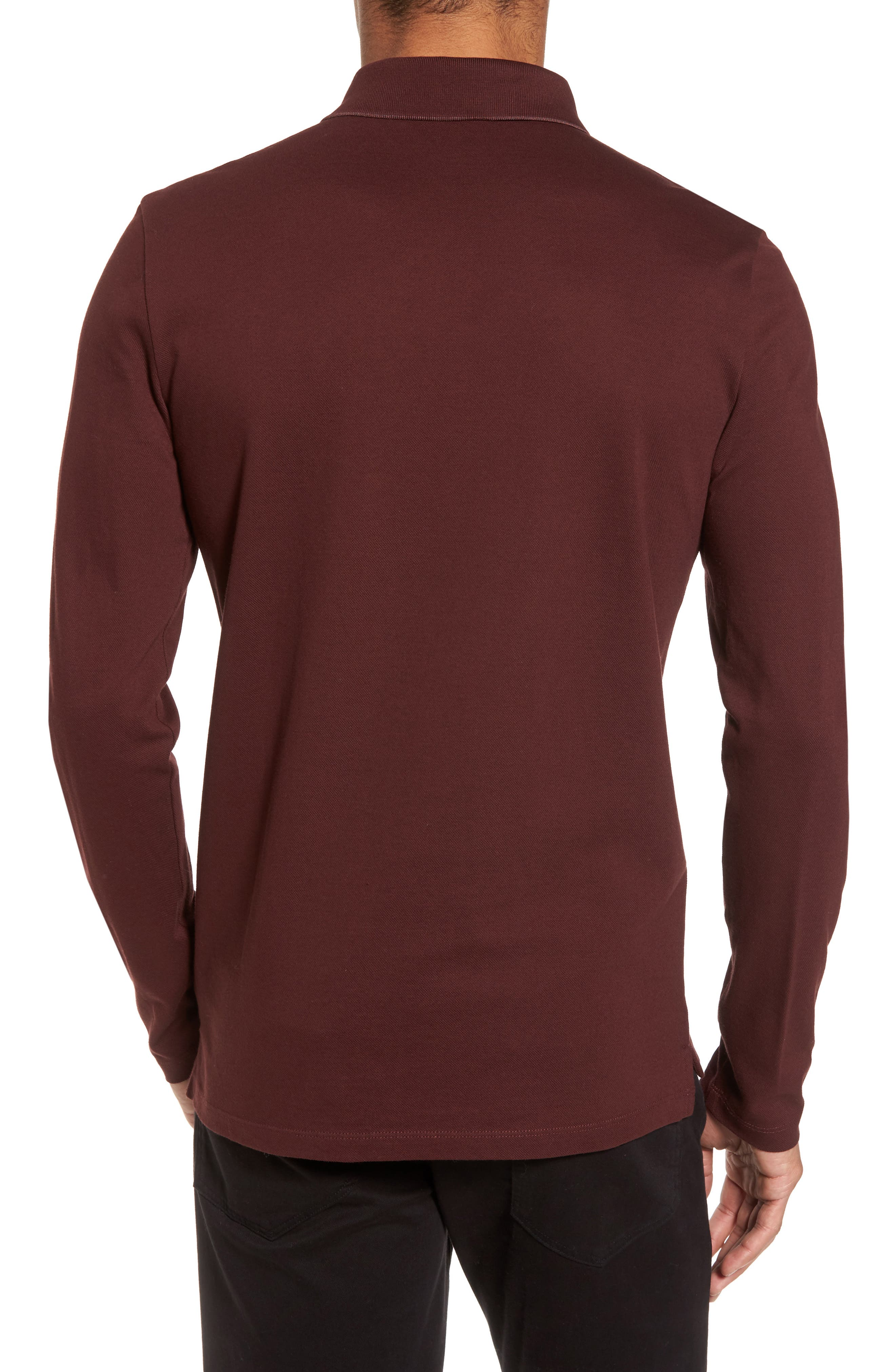 Pleins Slim Fit Long Sleeve Polo,                             Alternate thumbnail 2, color,                             Red
