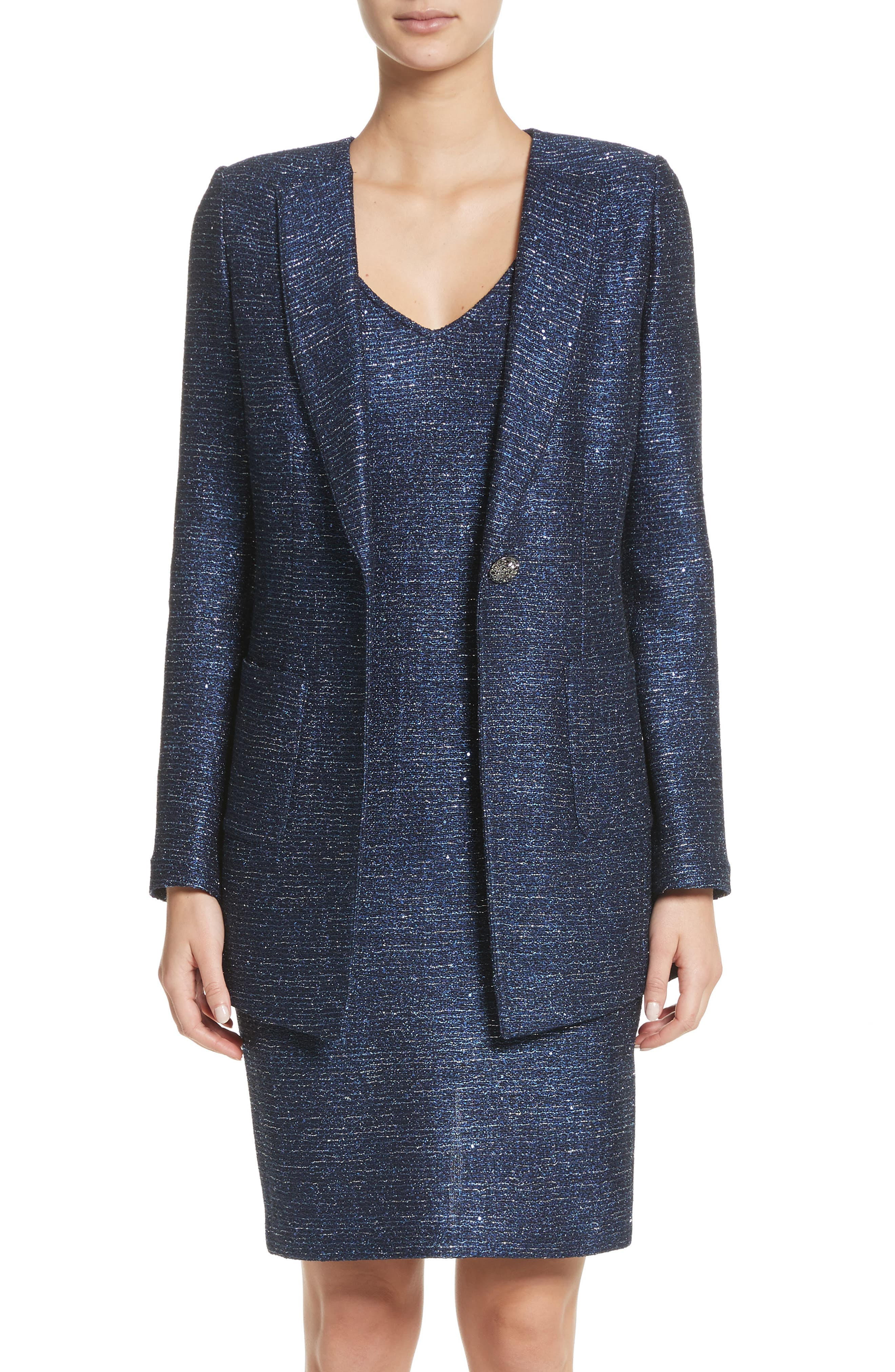 Sparkle Knit Blazer,                         Main,                         color, Navy Multi