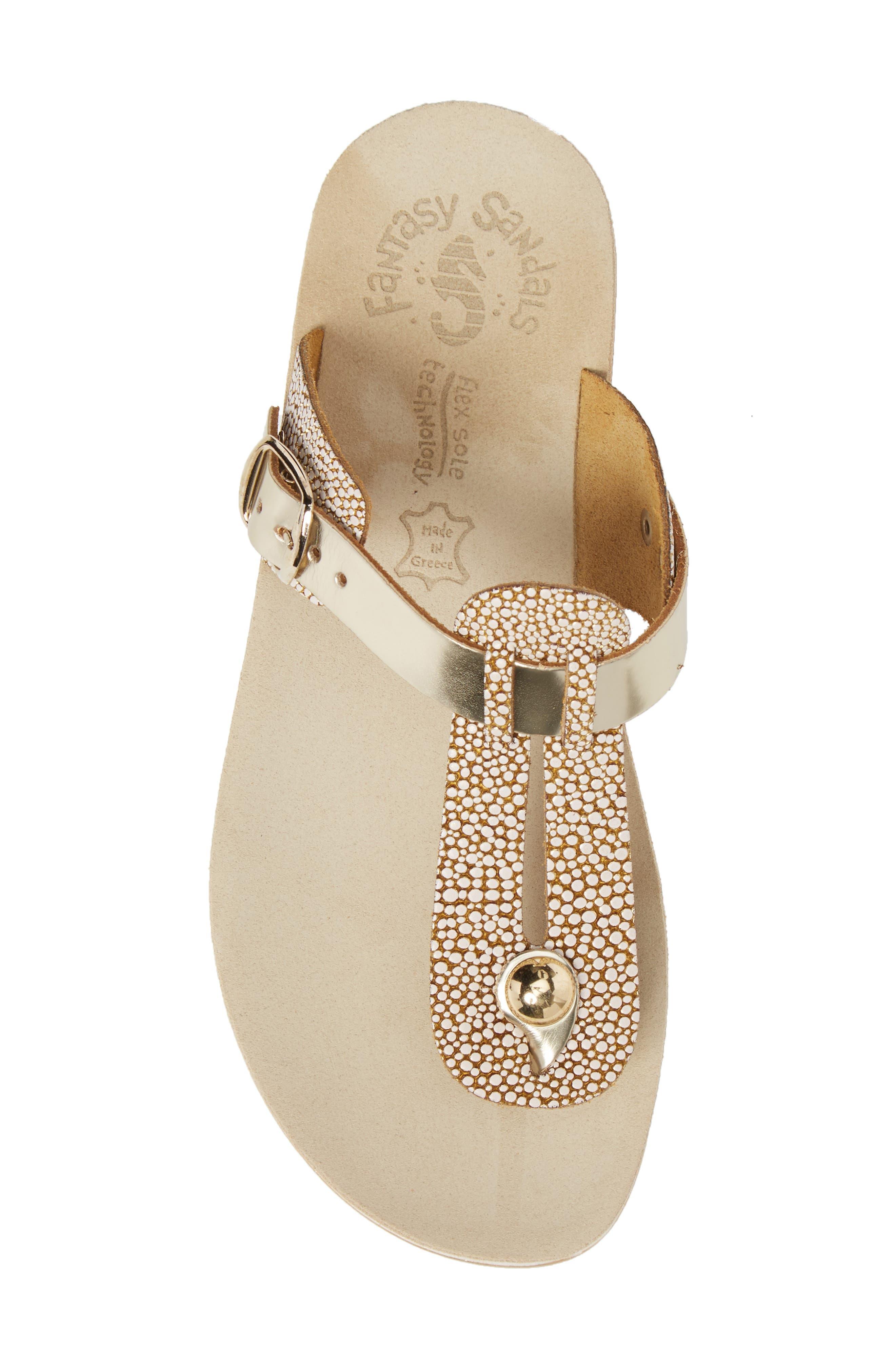 Mirabella Fantasy Sandal,                             Alternate thumbnail 5, color,                             Gold Caviar Leather