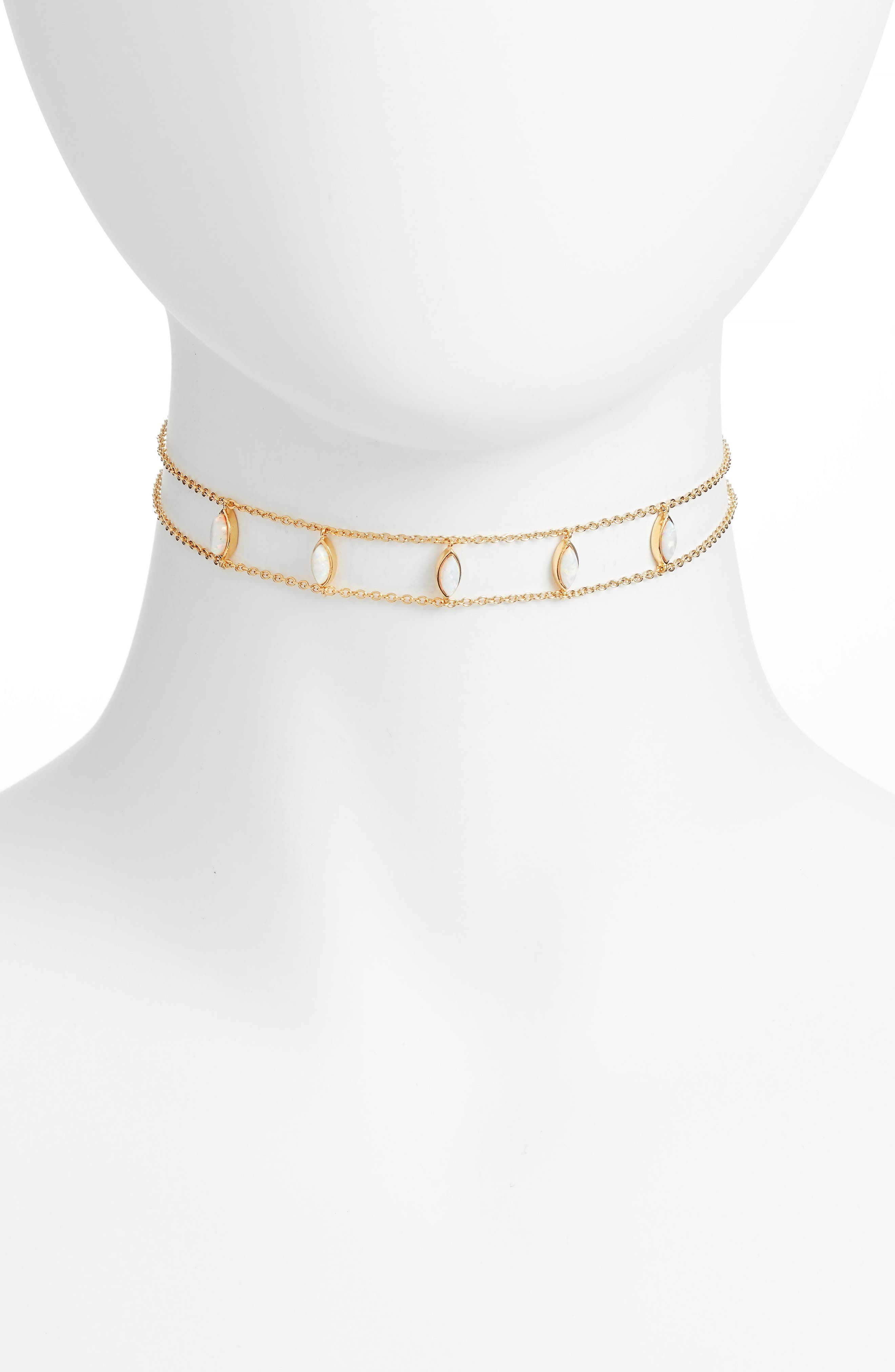 Joie Marquis Choker Necklace,                             Main thumbnail 1, color,                             Gold/ Simulated Opal