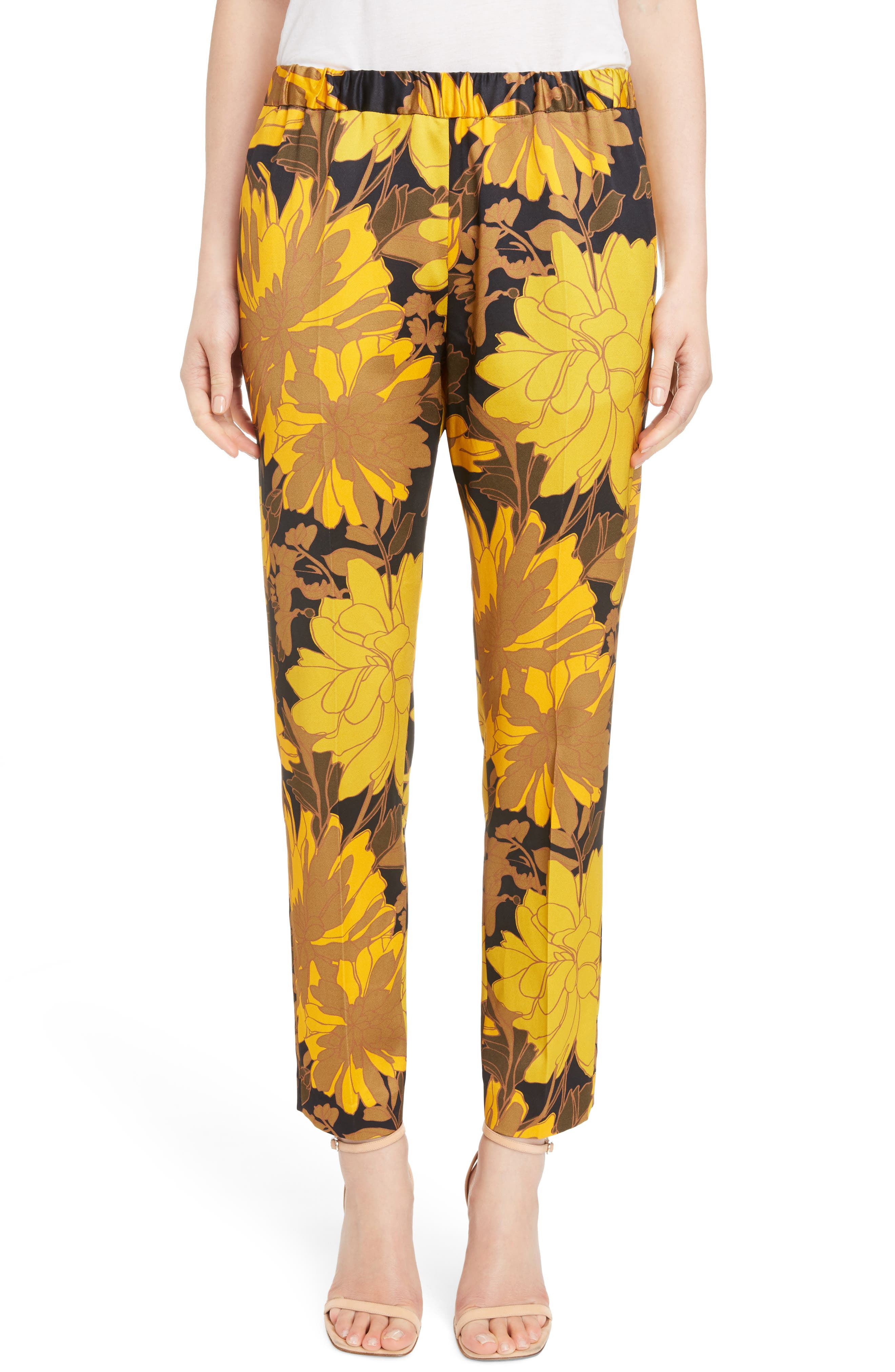 Print Ankle Pants,                         Main,                         color, Yellow