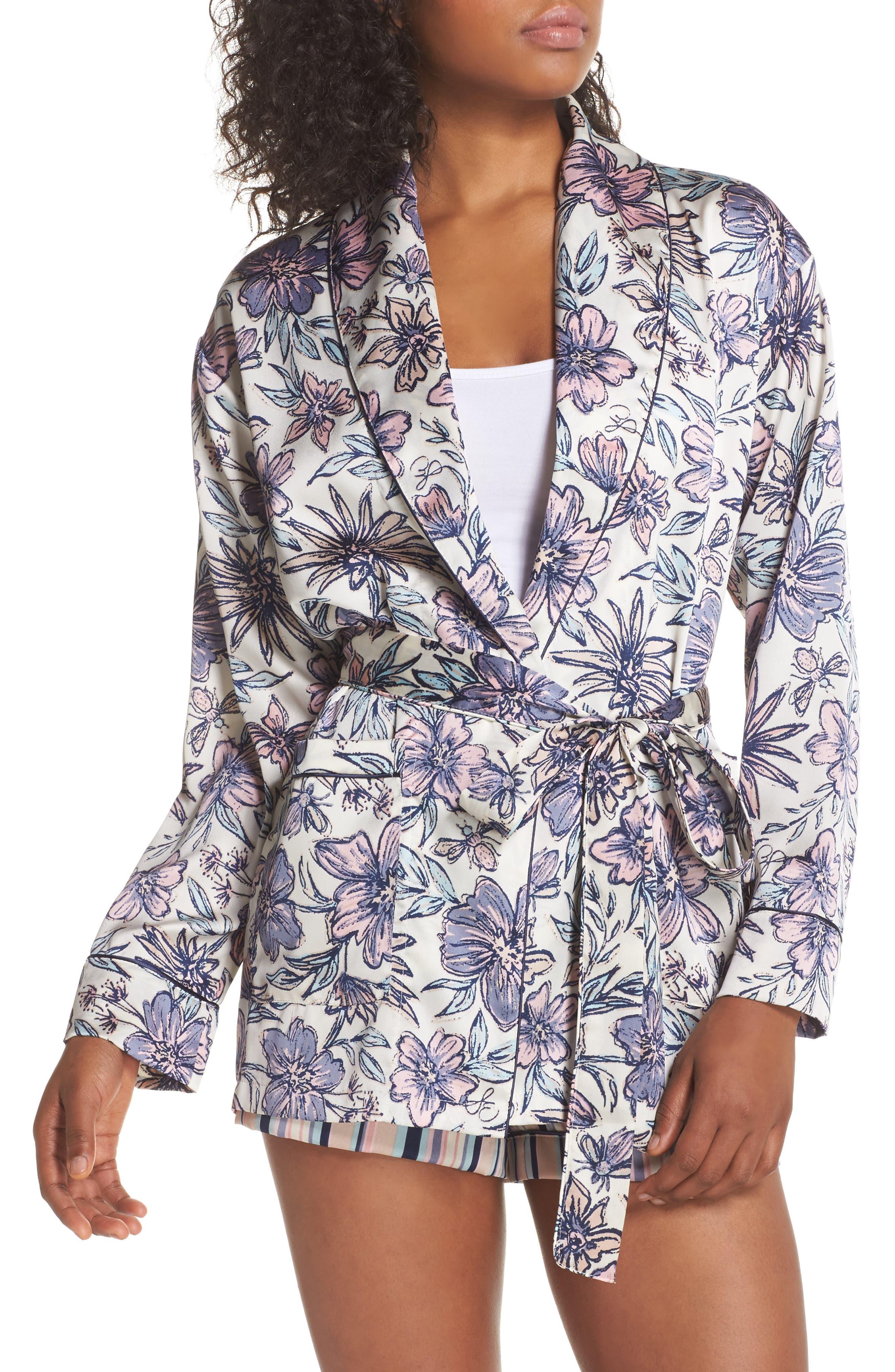 Satin Smoking Jacket Robe,                         Main,                         color, Antique White Floral