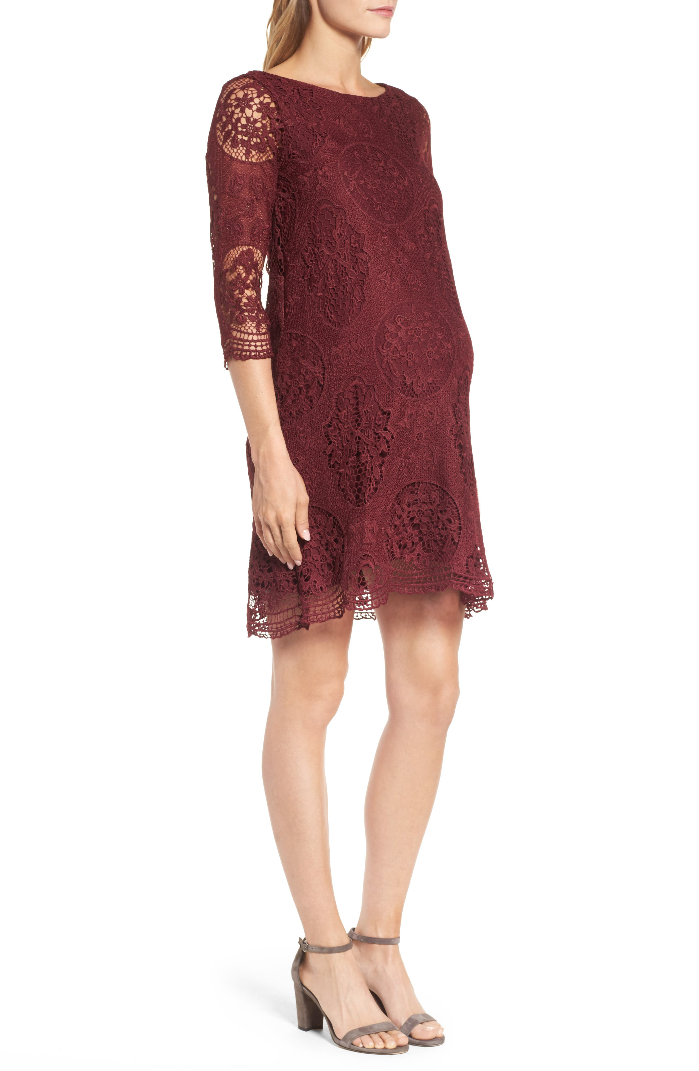 Lace Maternity Dress,                             Alternate thumbnail 3, color,                             Burgundy