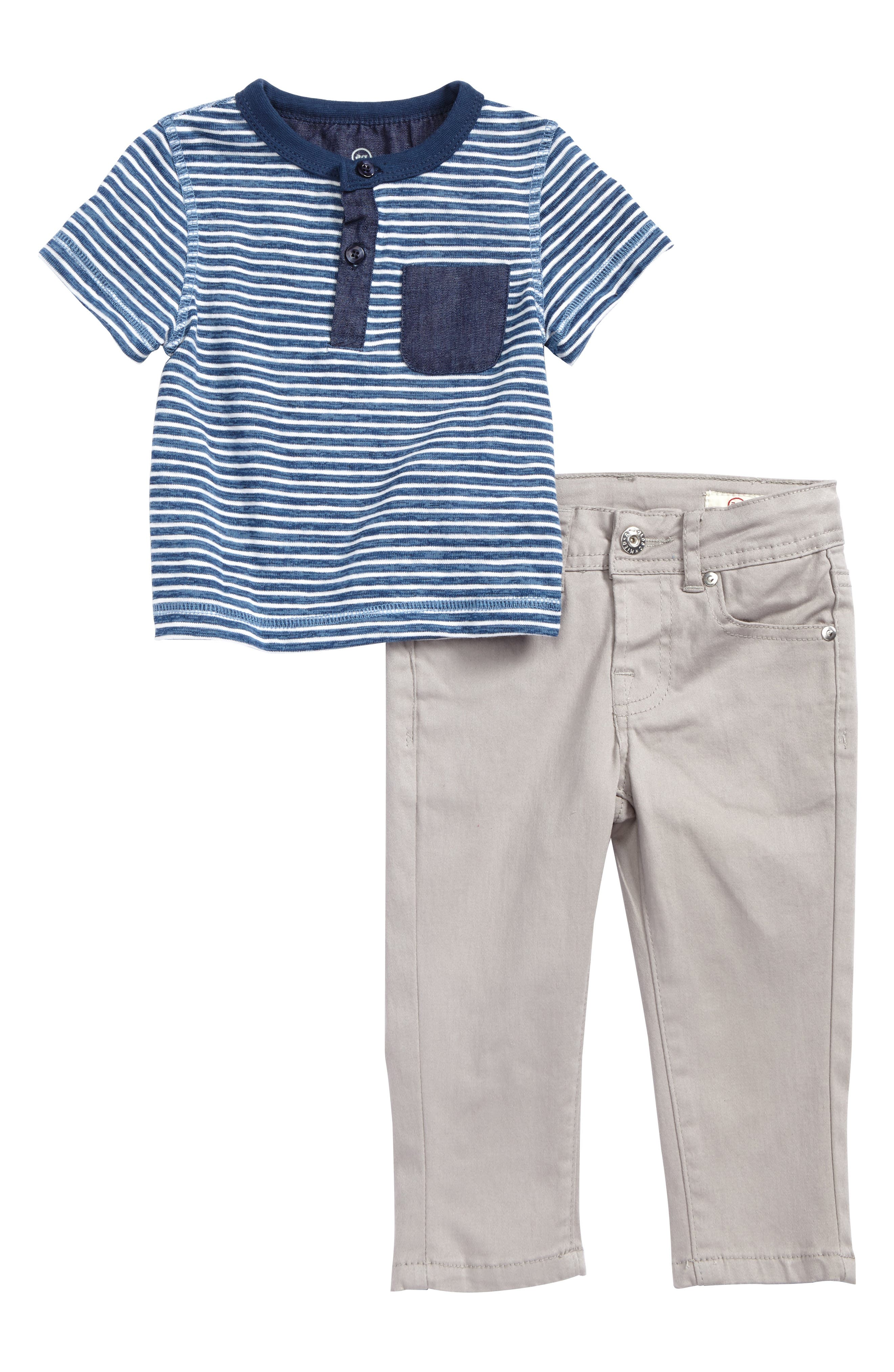 Stripe Henley & Skinny Twill Pants Set,                             Main thumbnail 1, color,                             Greys Brw