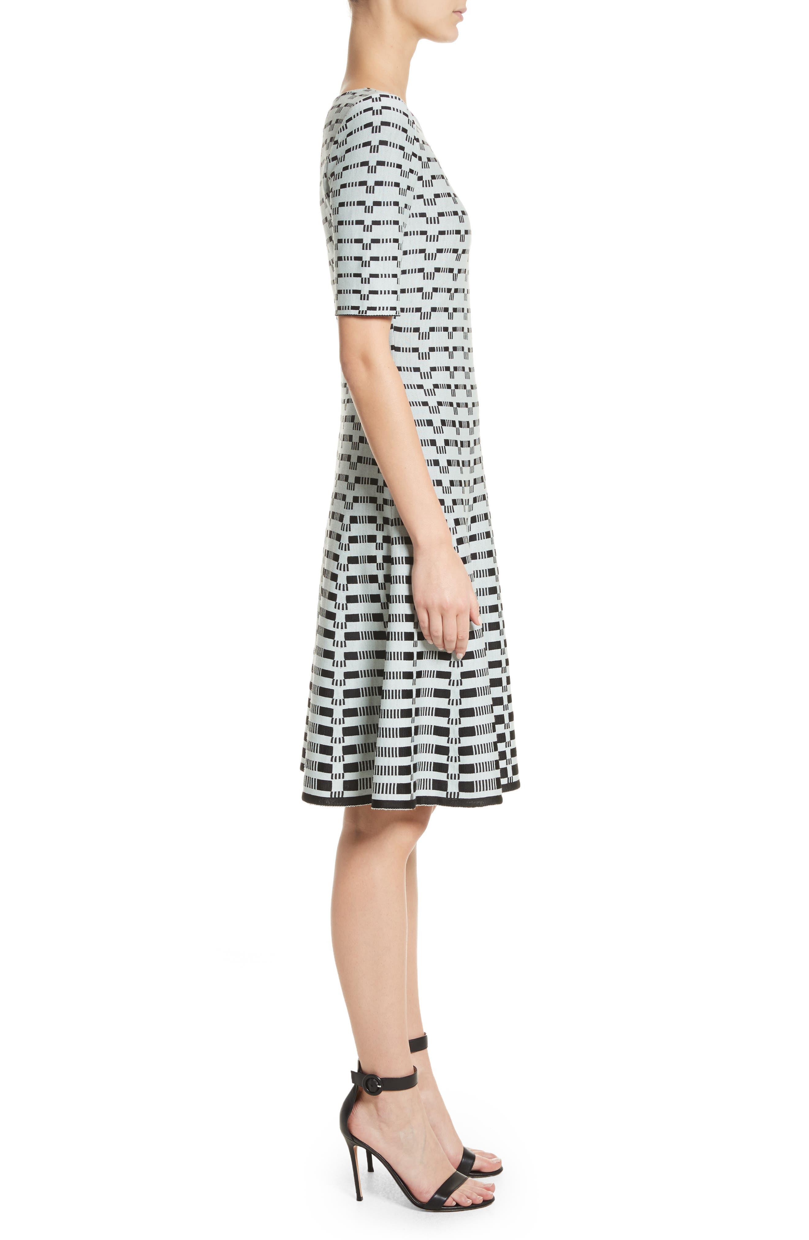 Grid Knit Fit & Flare Dress,                             Alternate thumbnail 3, color,                             Mint/ Caviar