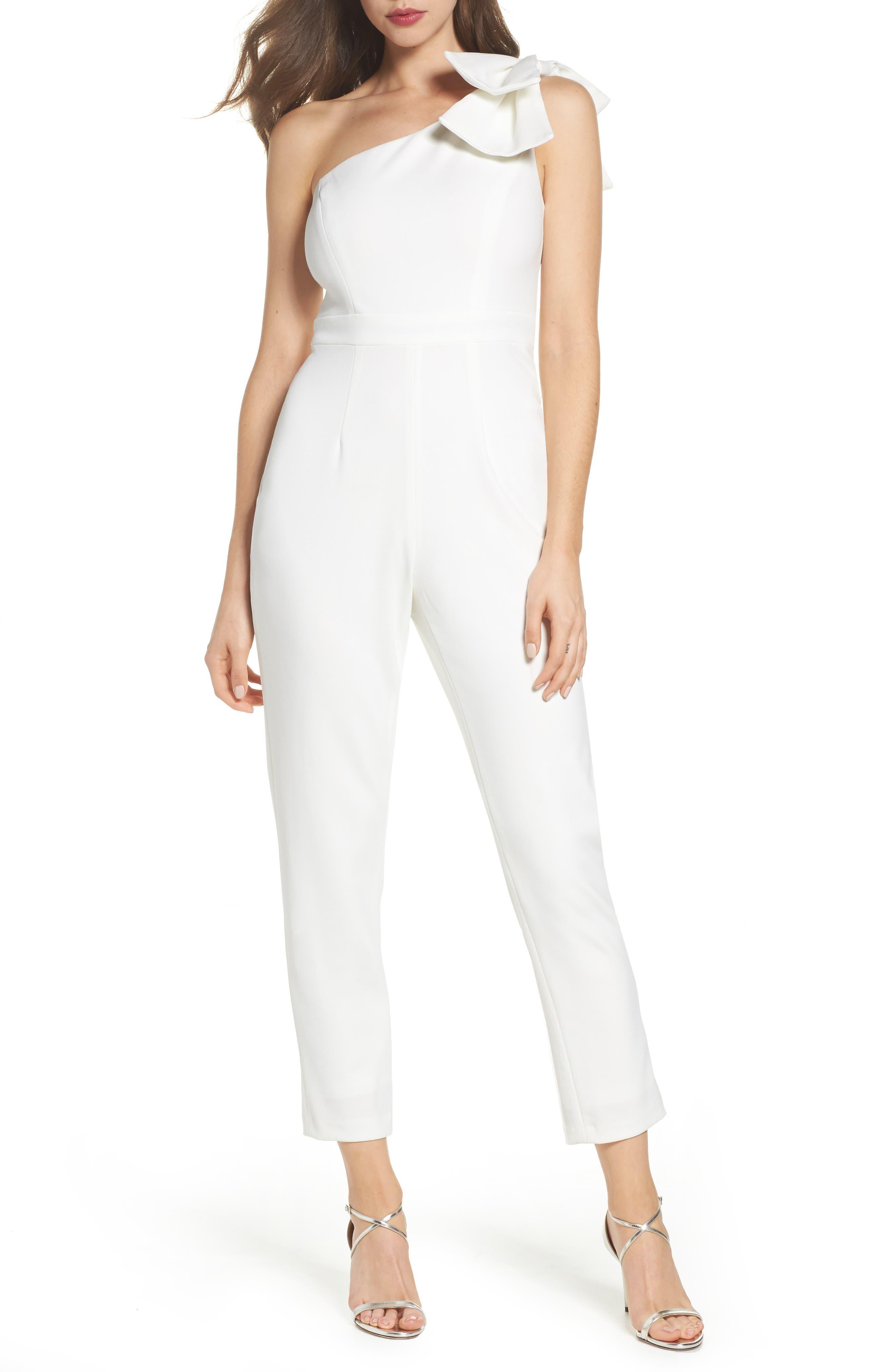 Bow One-Shoulder Jumpsuit,                         Main,                         color, Ivory