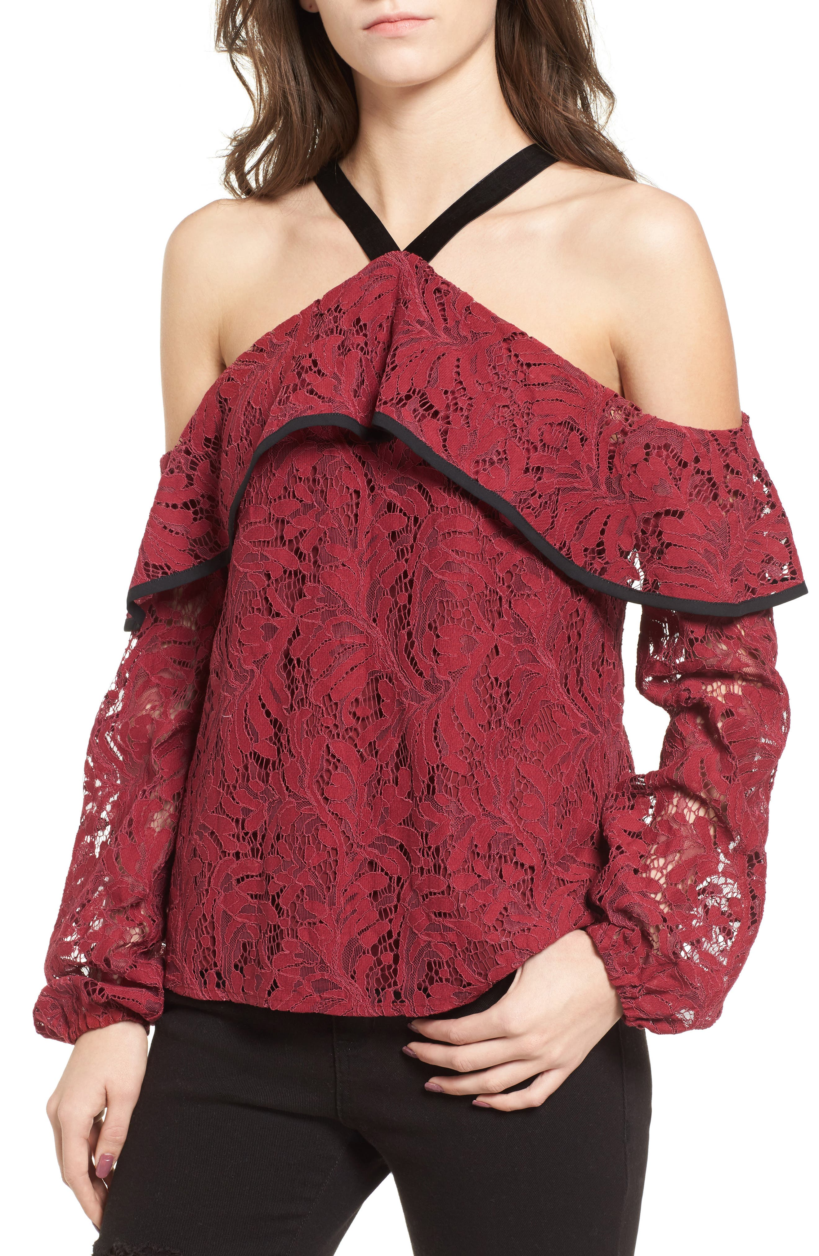 Helena Lace Top,                         Main,                         color, Burgundy