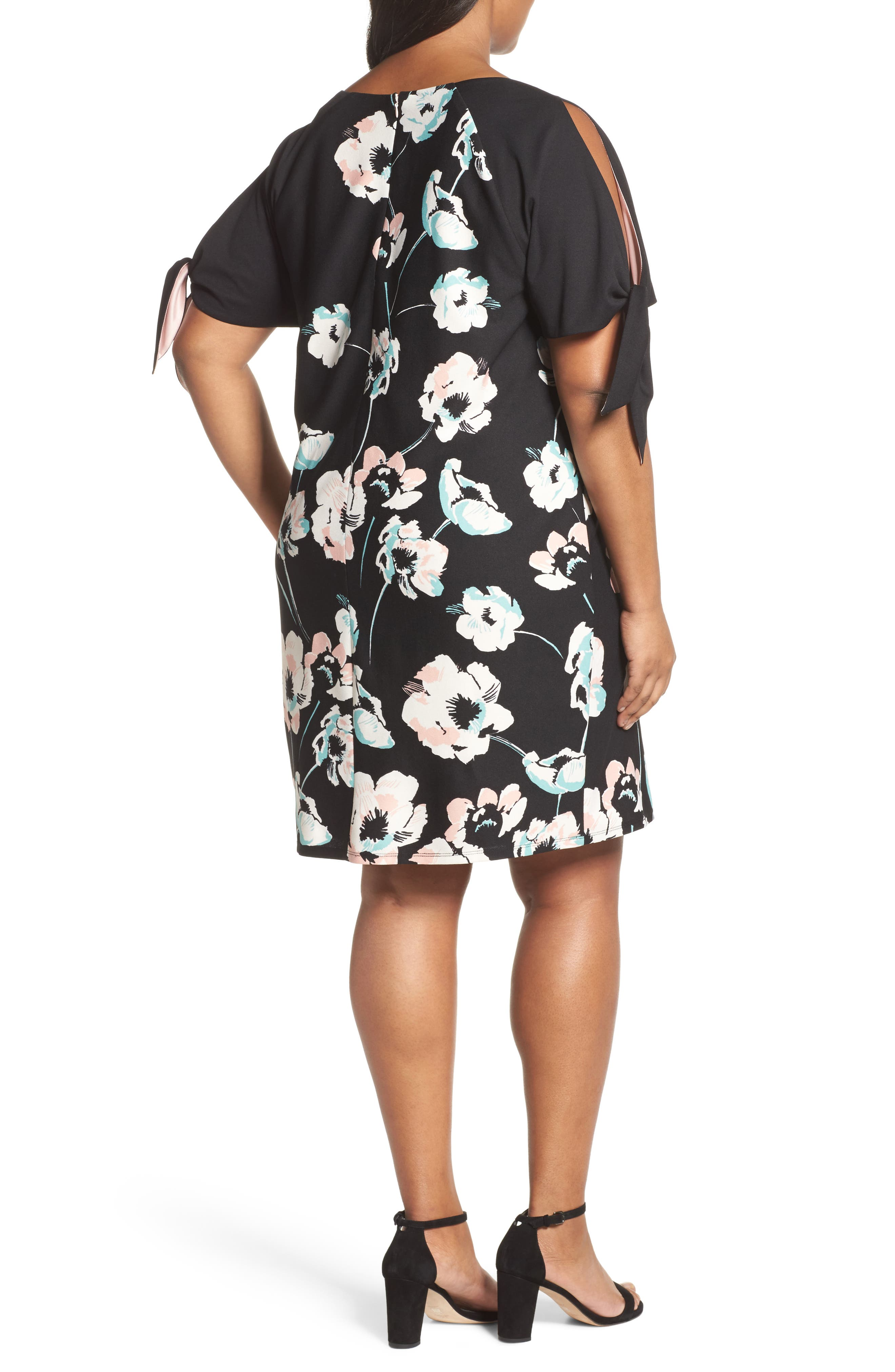 Slit Sleeve Floral Shift Dress,                             Alternate thumbnail 2, color,                             Black