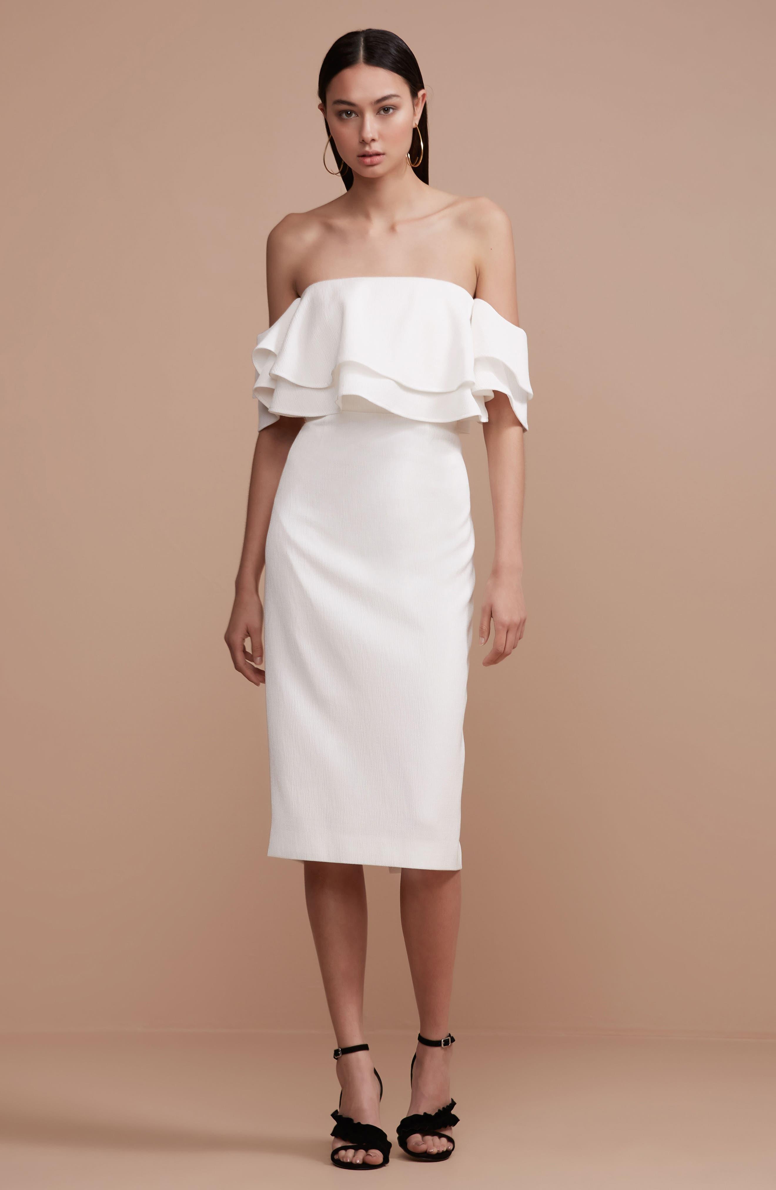 No Reason Off the Shoulder Sheath Dress,                             Alternate thumbnail 7, color,                             Ivory