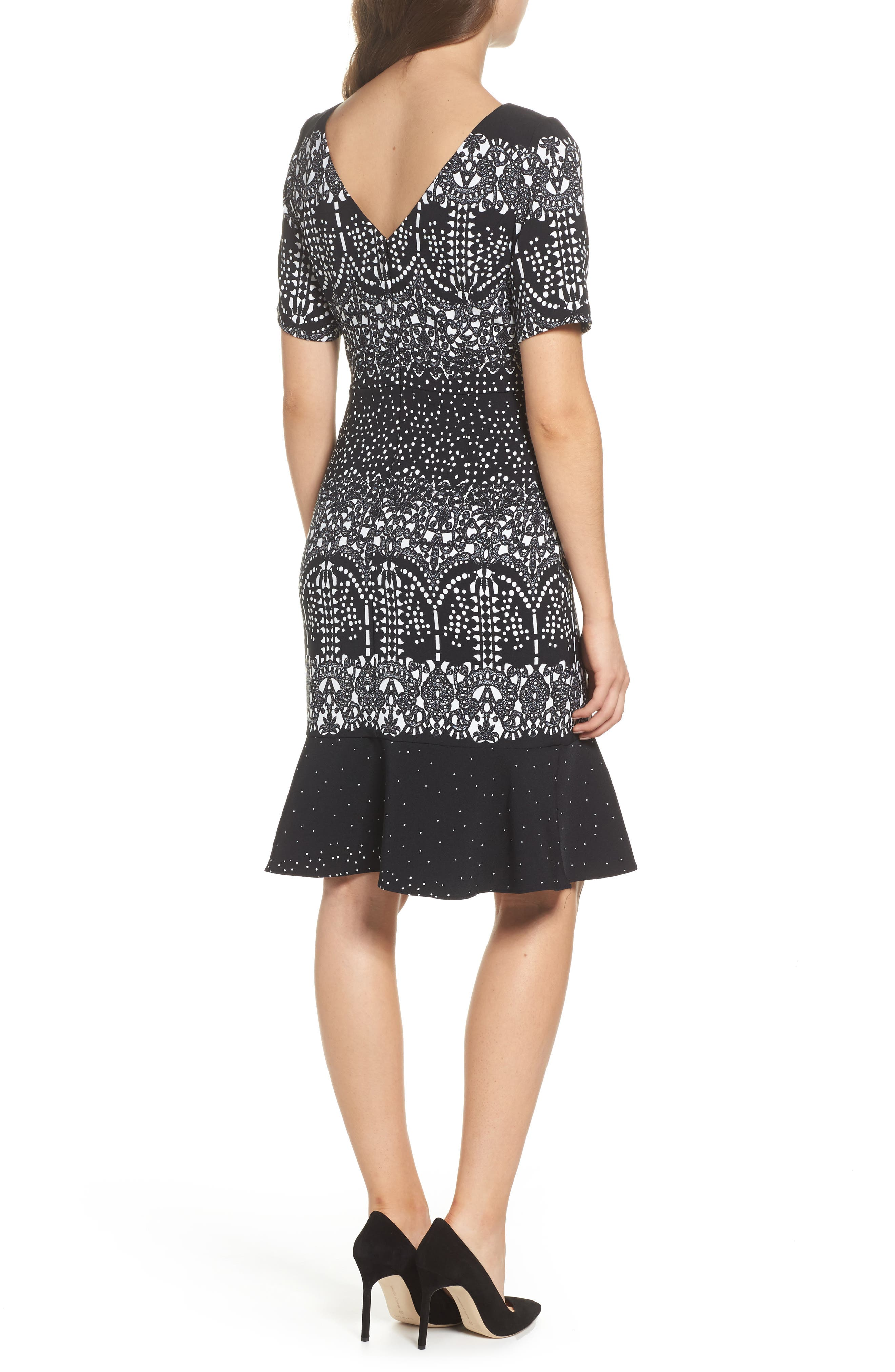 Majesty Lace Fit & Flare Dress,                             Alternate thumbnail 2, color,                             Black Multi