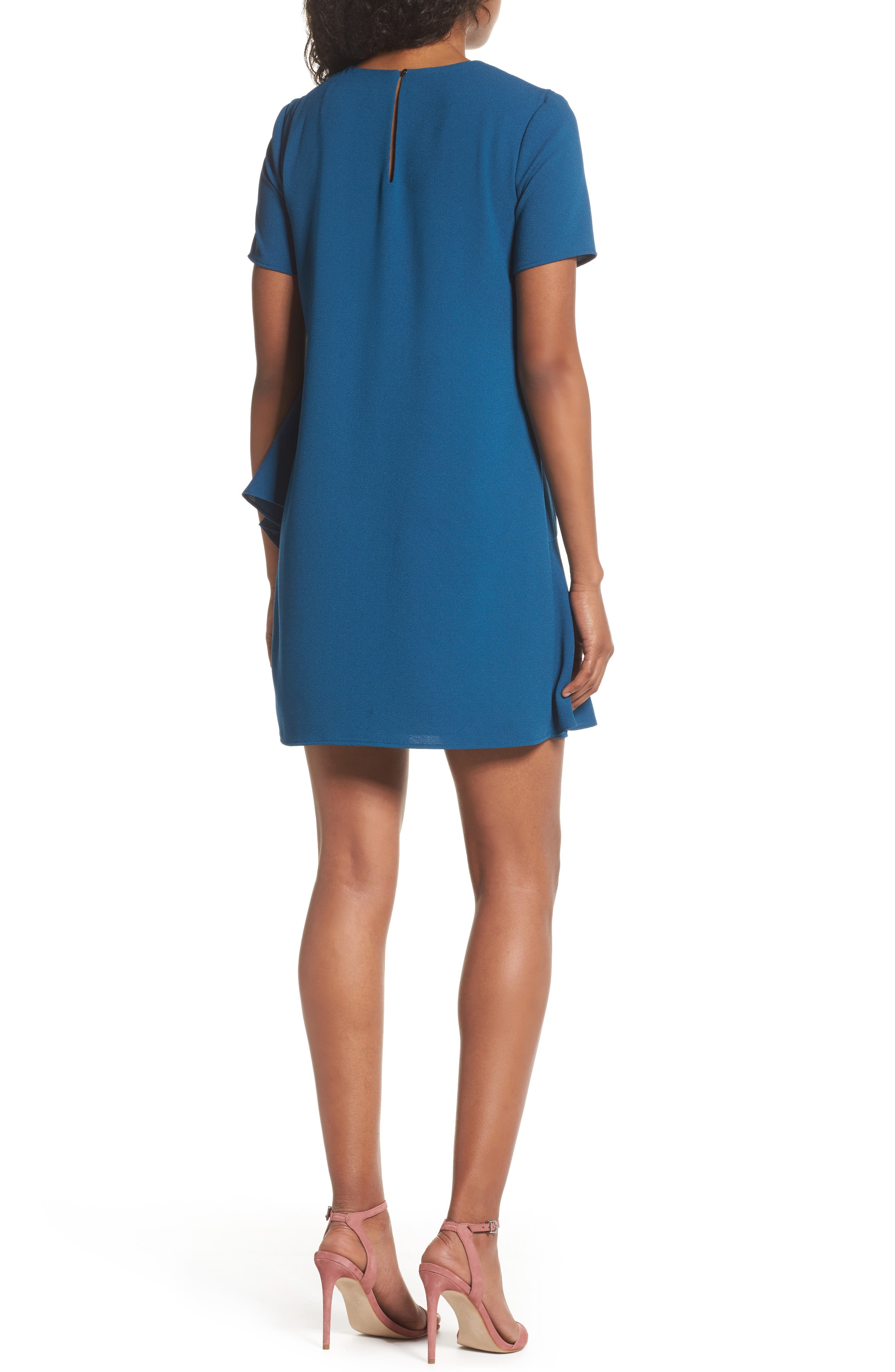 Asymmetrical Ruffle Shift Dress,                             Alternate thumbnail 2, color,                             Spruce